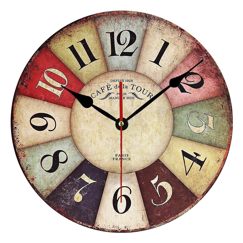 Horloge murale en bois MDF vintage