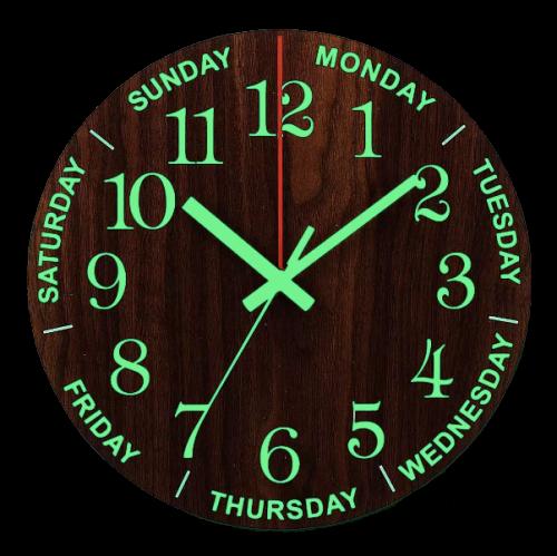 Horloge murale lumineuse avec jours de la semaine 30 cm