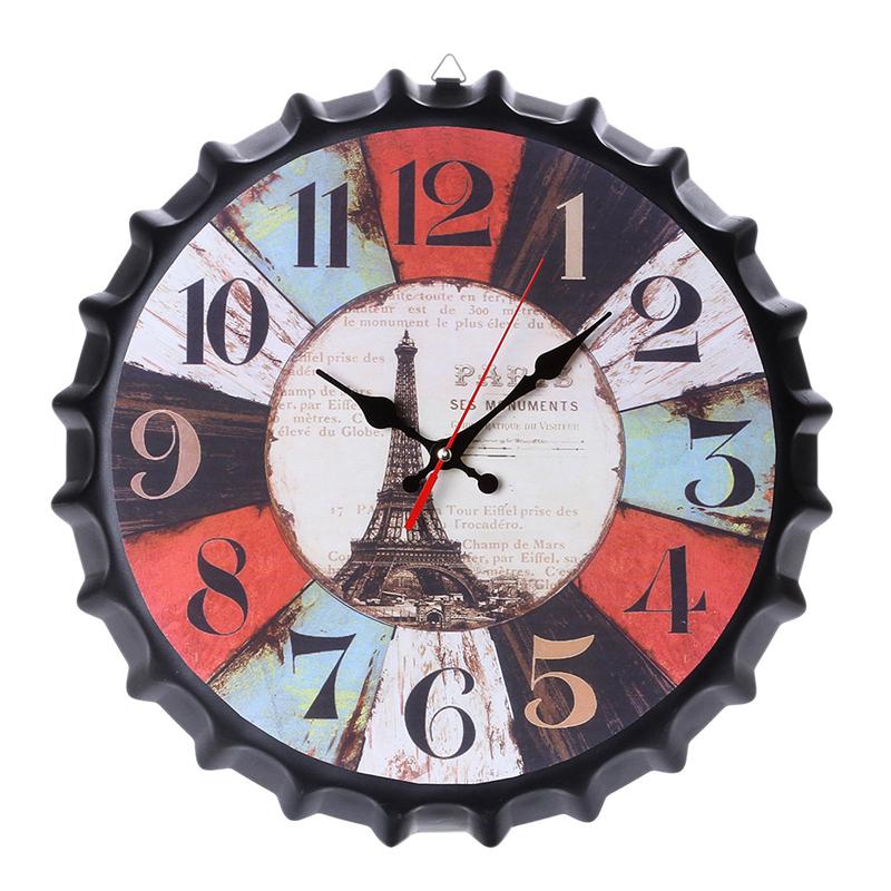 Horloge capsule façon vieilli 34cm