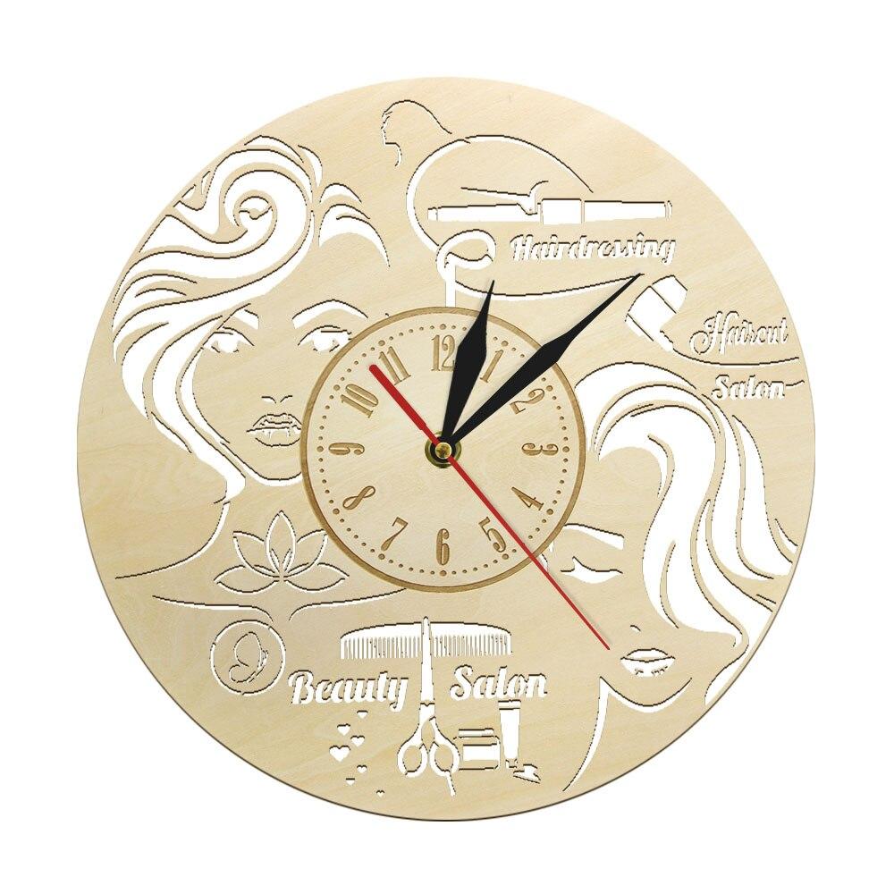Horloge murale salon de coiffure bois 30 cm
