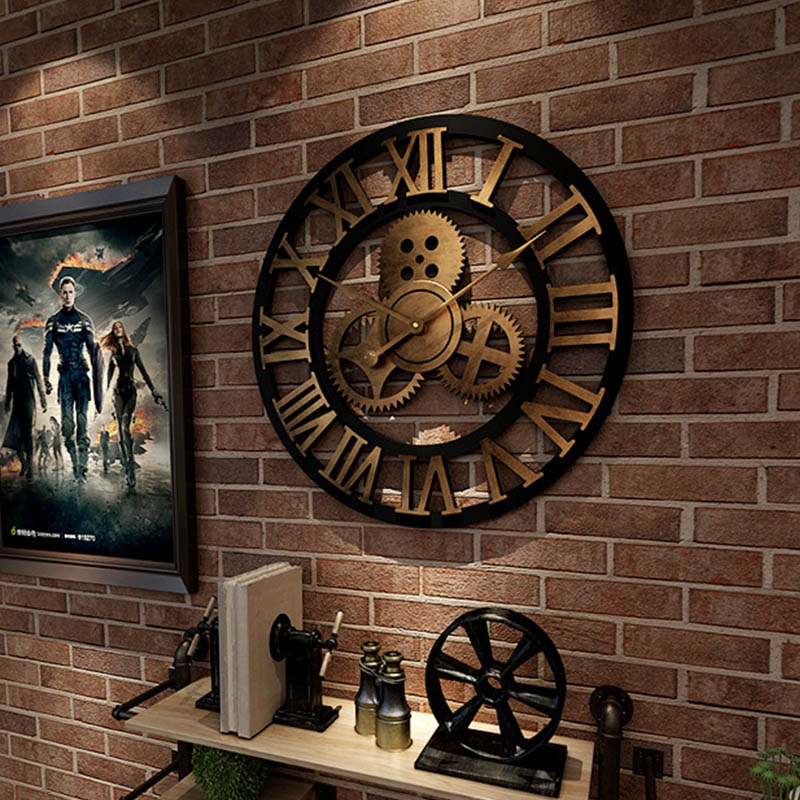 Horloge murale 3D rétro et décorative 40 cm