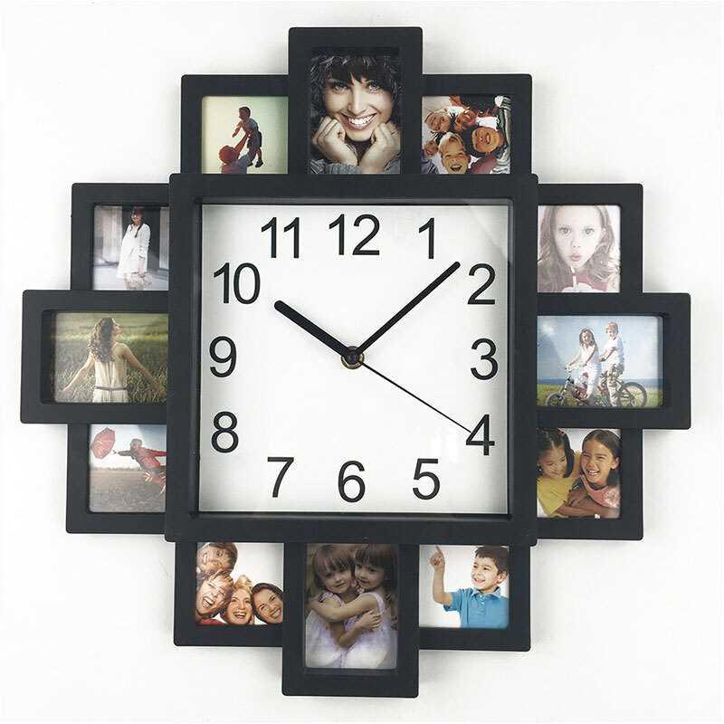 Horloge classique avec cadre photo à personnaliser 38,5cm
