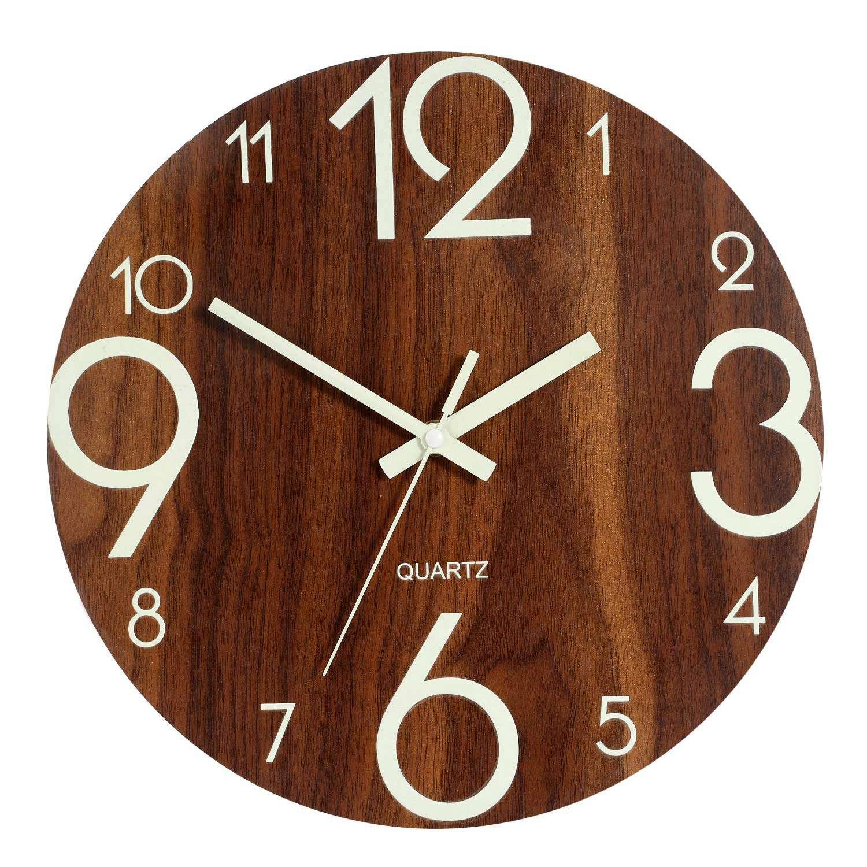 Horloge murale classique et lumineuse 30,5cm