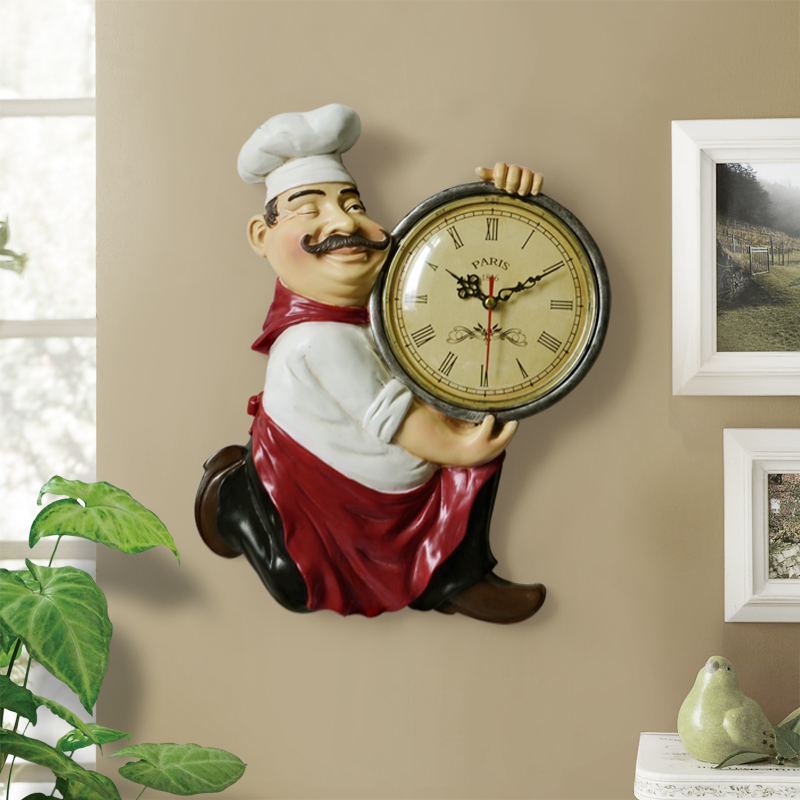 Horloge Vintage avec statue de chef pour décoration de salon et cuisine 29 cm