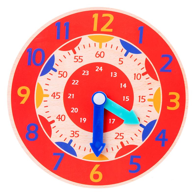 Horloge Montessori en bois coloré pour enfants 14cm