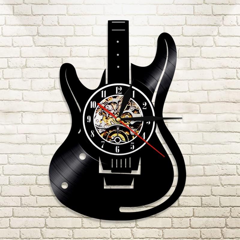 Horloge murale thème guitare avec LED 30 cm