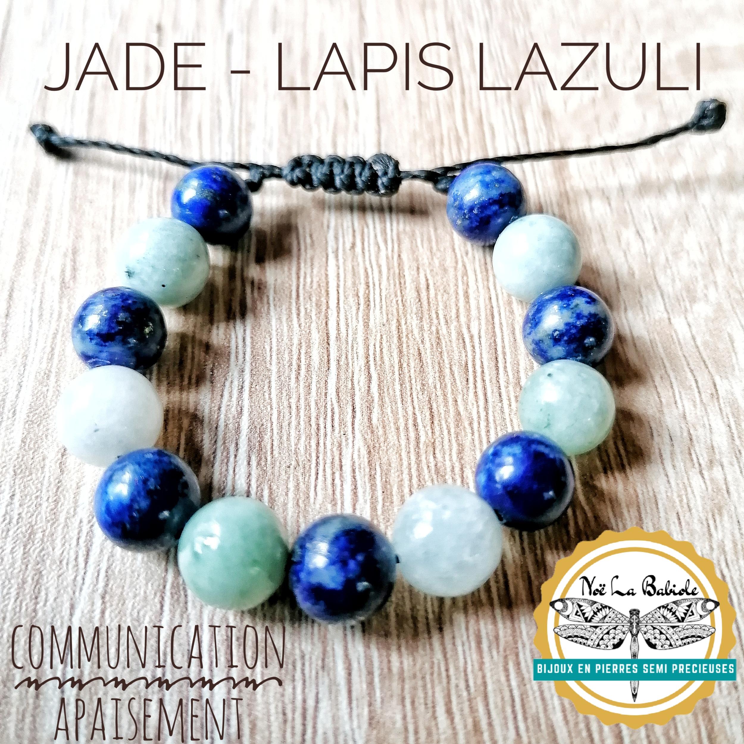 Bracelet Communication & Apaisement en Jade et Lapis Lazuli