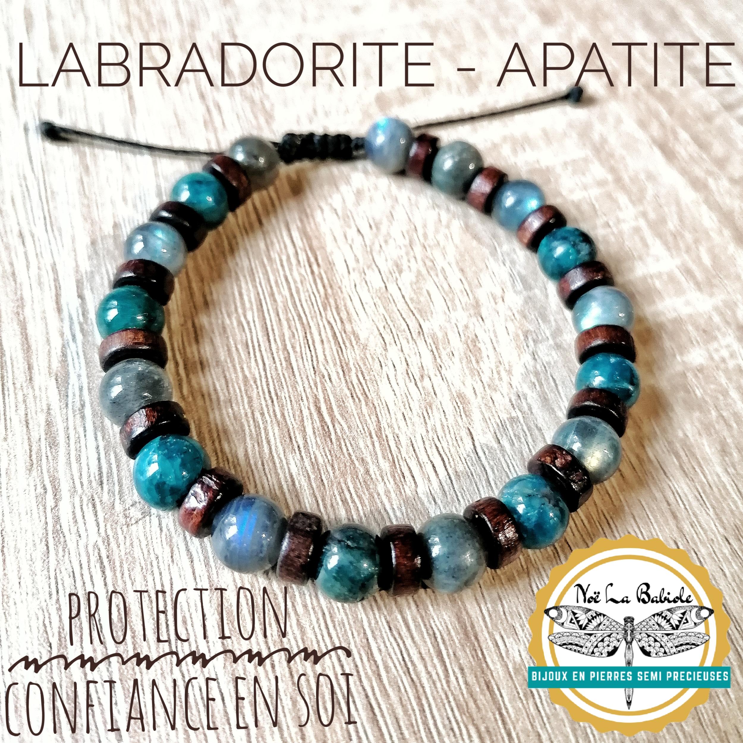 Bracelet Protection & Confiance en soi en Labradorite et Apatite