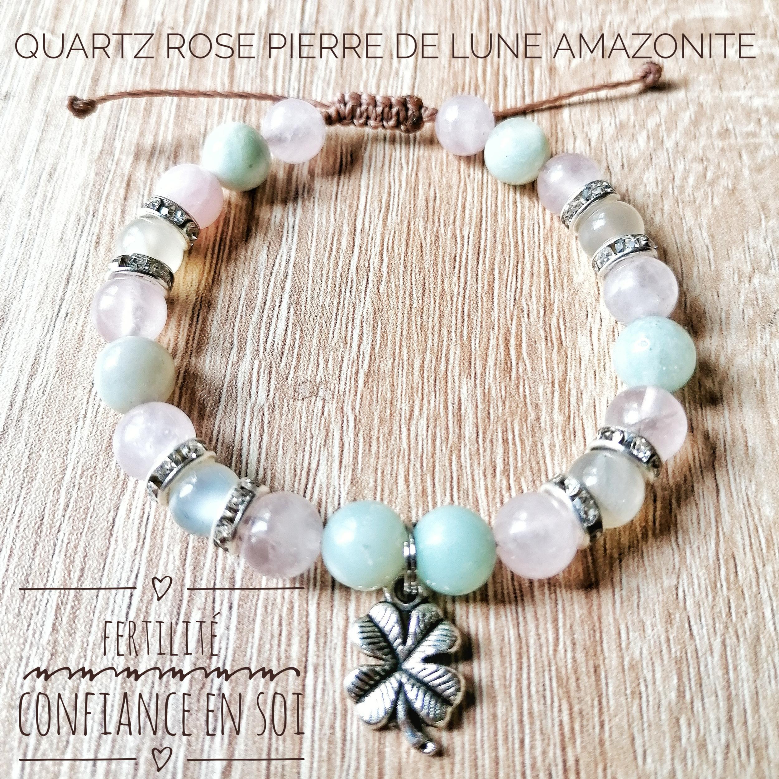 Bracelet fertilité & Confiance en soi Pierre de Lune, Quartz rose & Amazonite