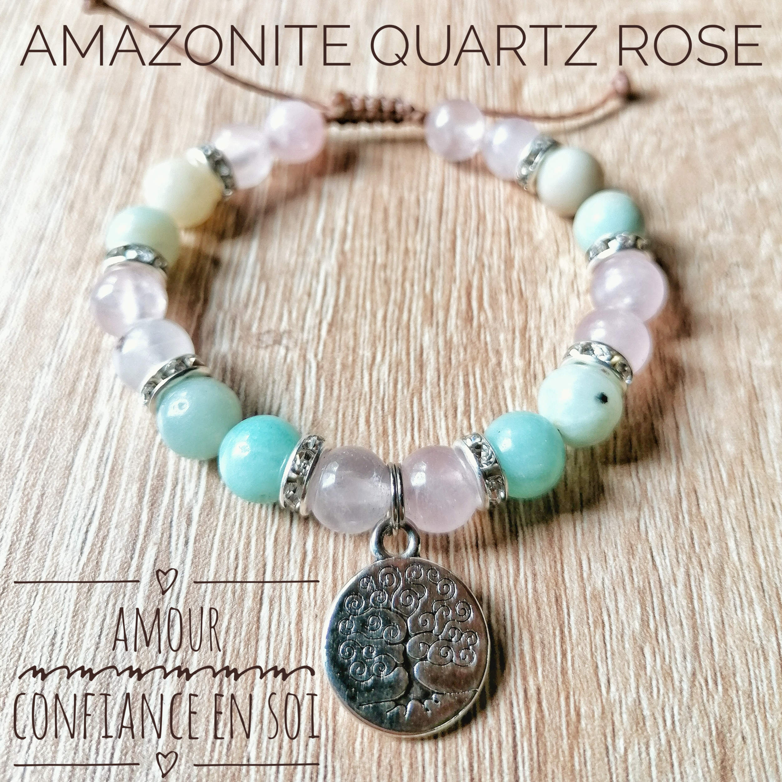 Bracelet Amour & Confiance en soi Quartz rose & Amazonite