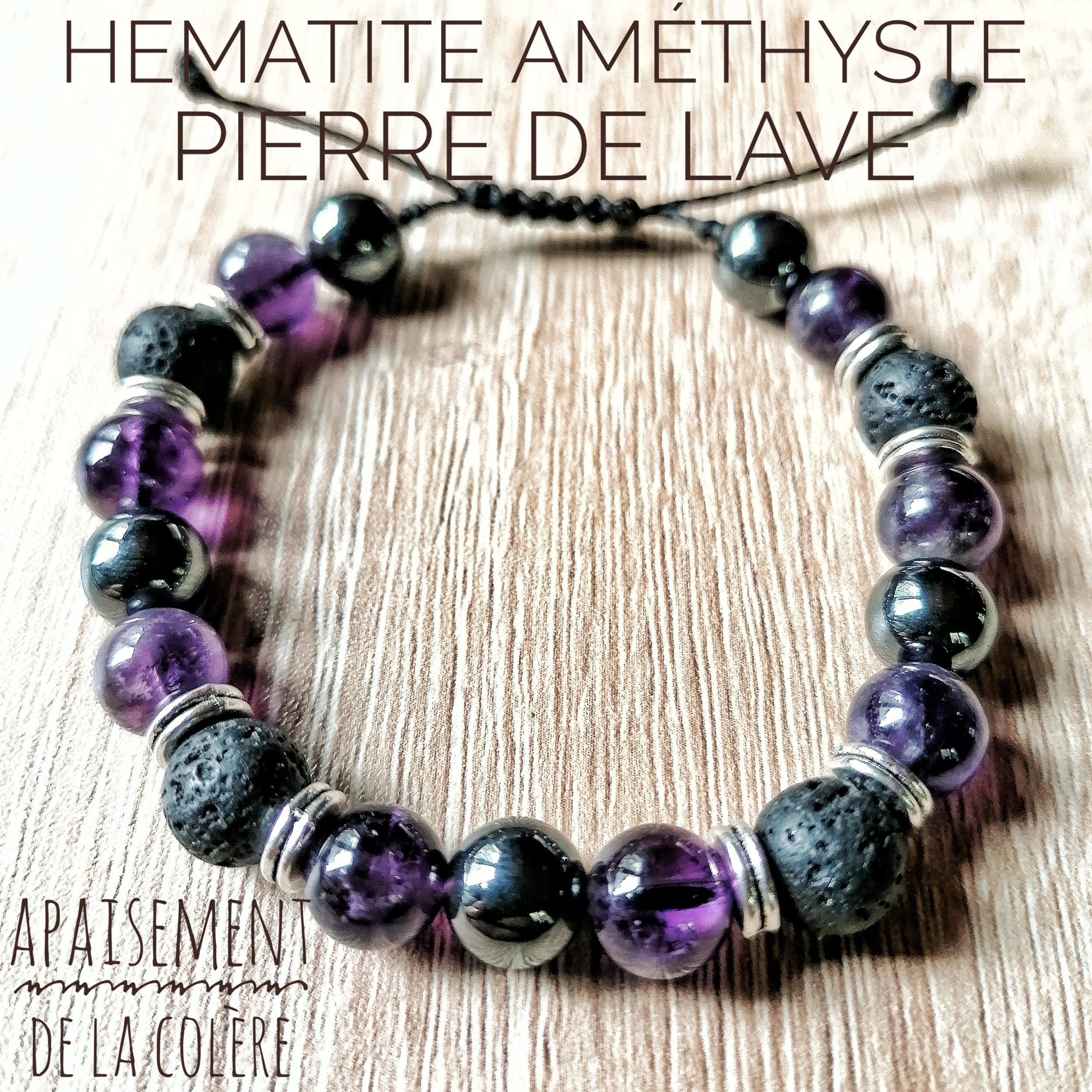 Bracelet Apaisement de la colère Améthyste, Pierre de lave & Hématite