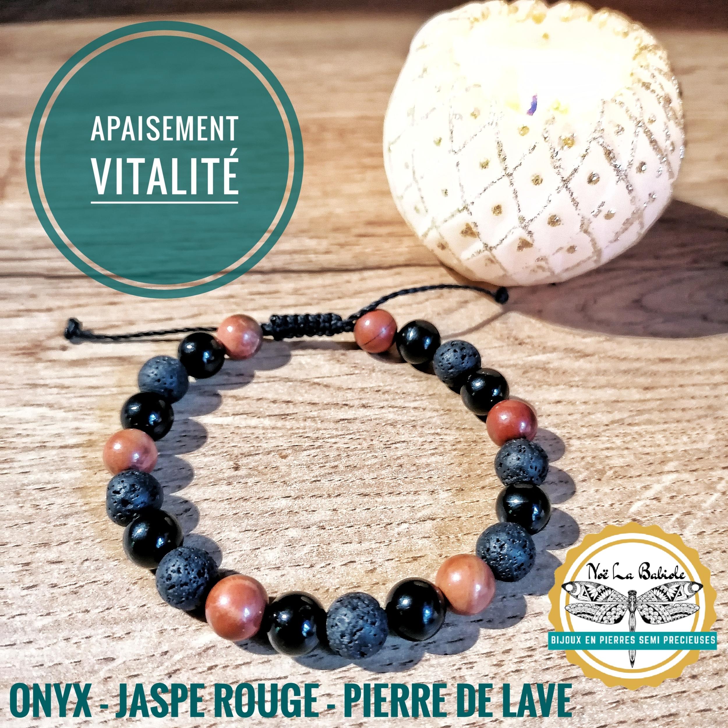 Bracelet Apaisement & Vitalité en Onyx, Jaspe rouge et Pierre de lave