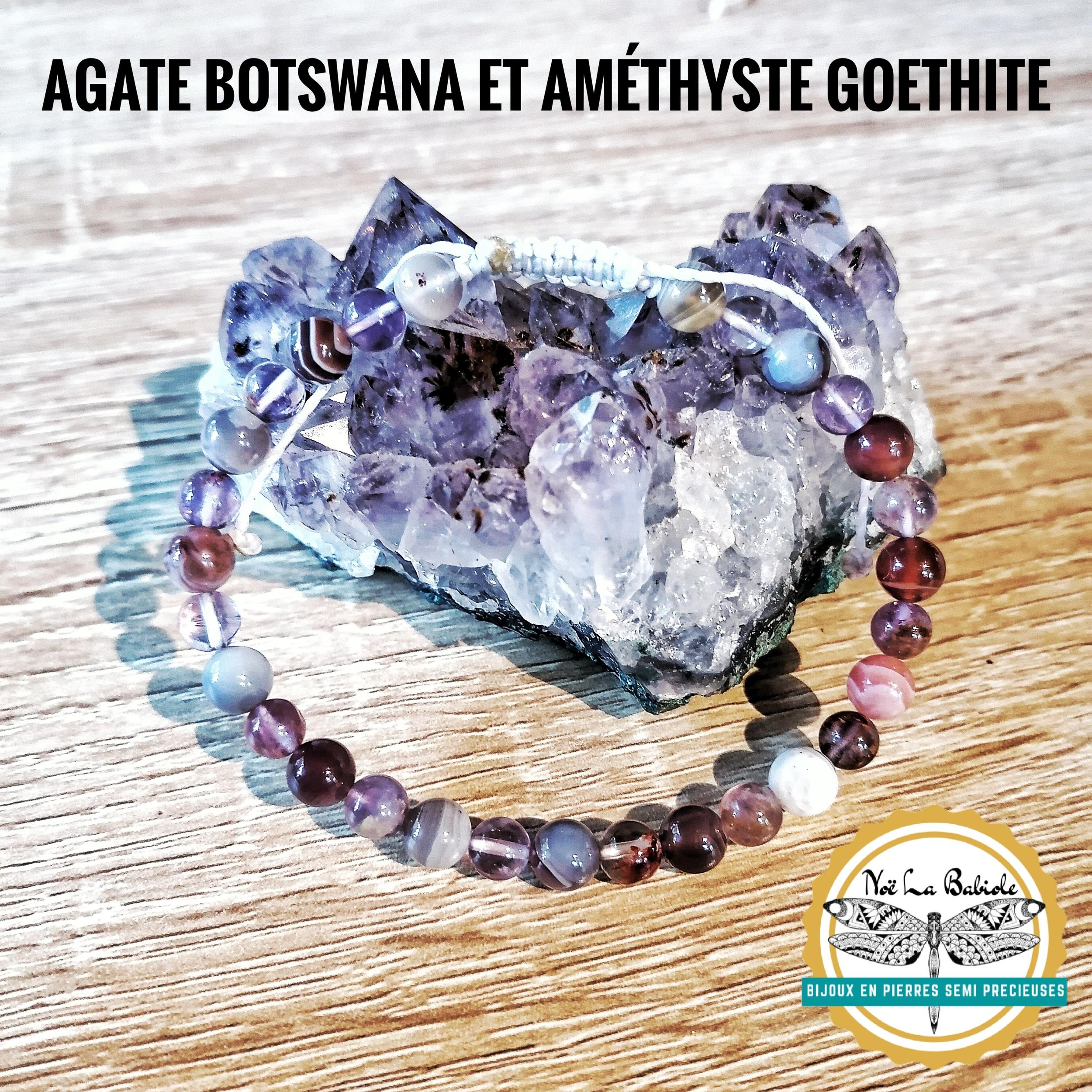 Bracelet 6mm en Améthyste Goethite et Agate Botswana
