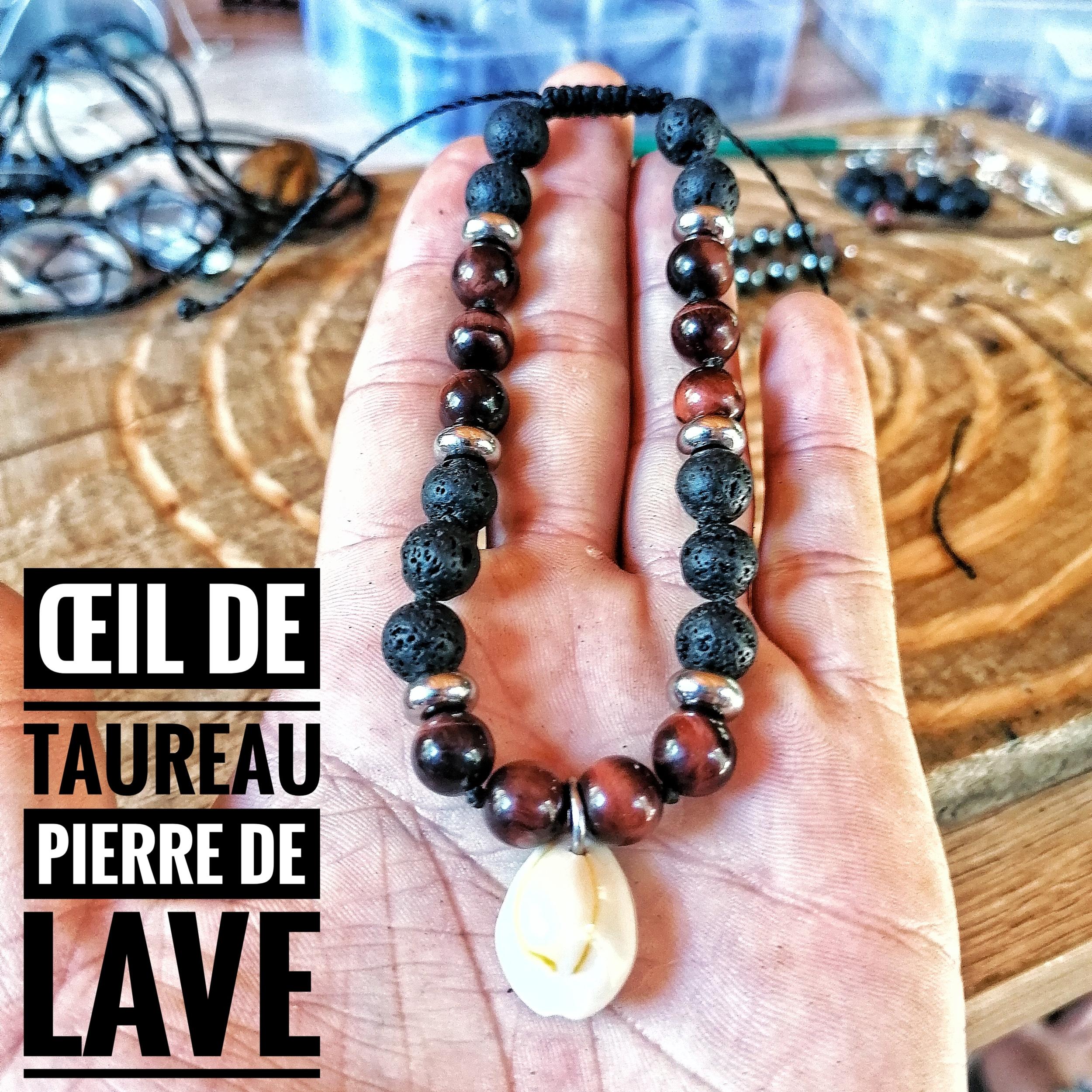 Bracelet de Cheville Protection & Bonheur Oeil de taureau et Pierre de lave