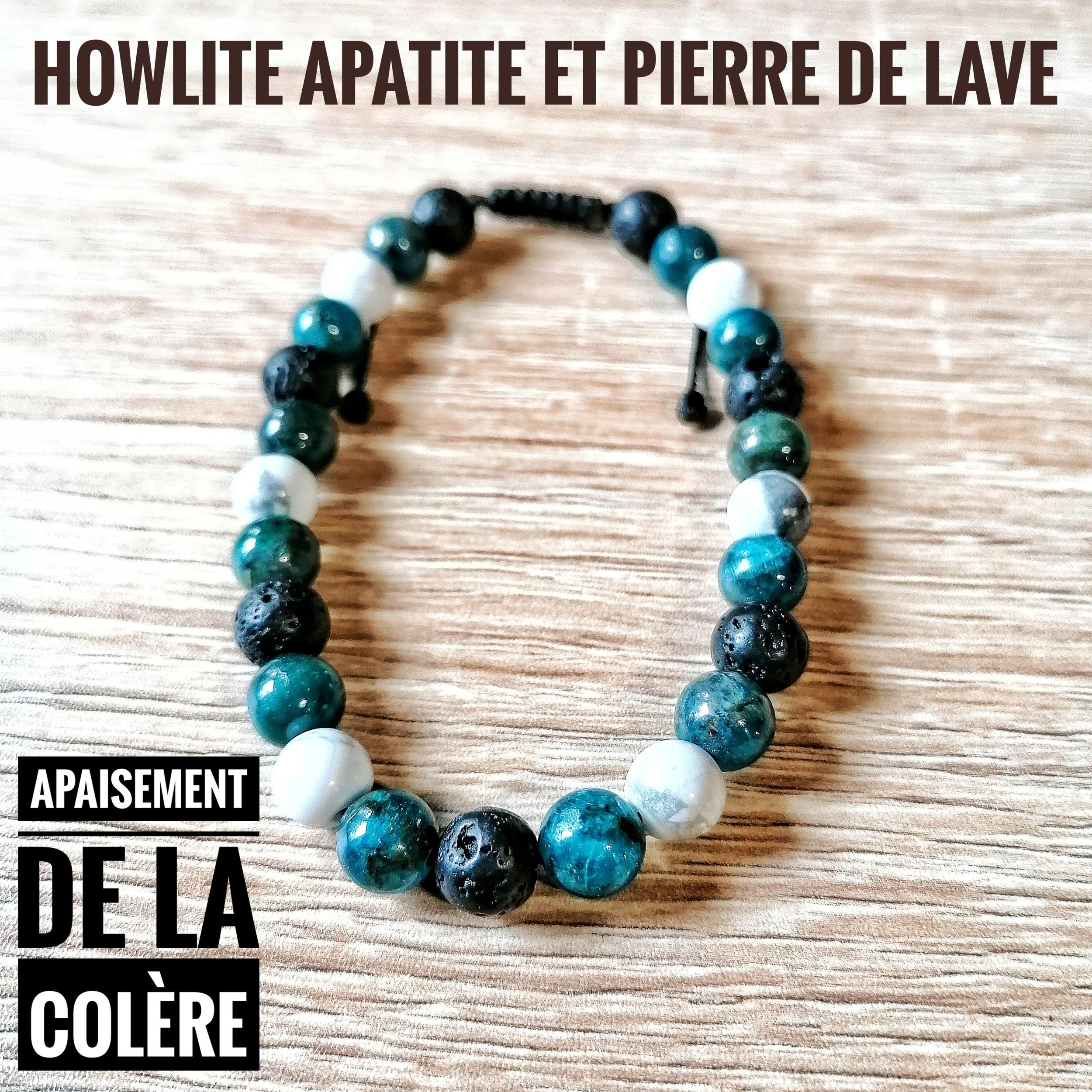 Bracelet Apaisement de la colère en Apatite Howlite et Pierre de lave