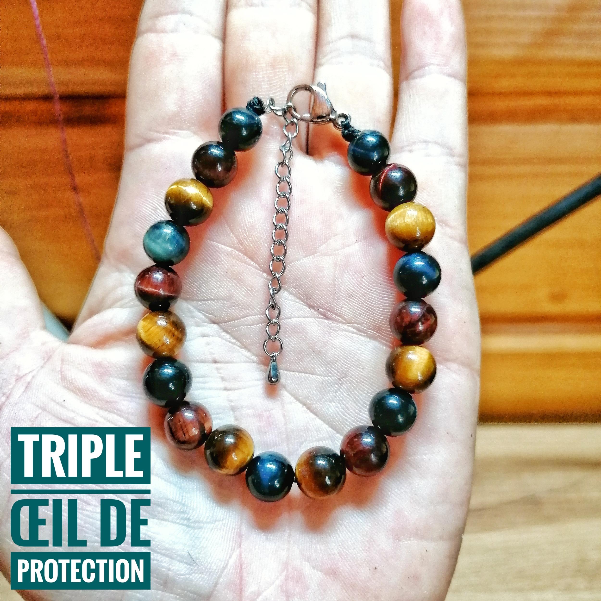 Bracelet triple Oeil de protection en Oeil de Faucon, Oeil de Taureau et Oeil de Tigre