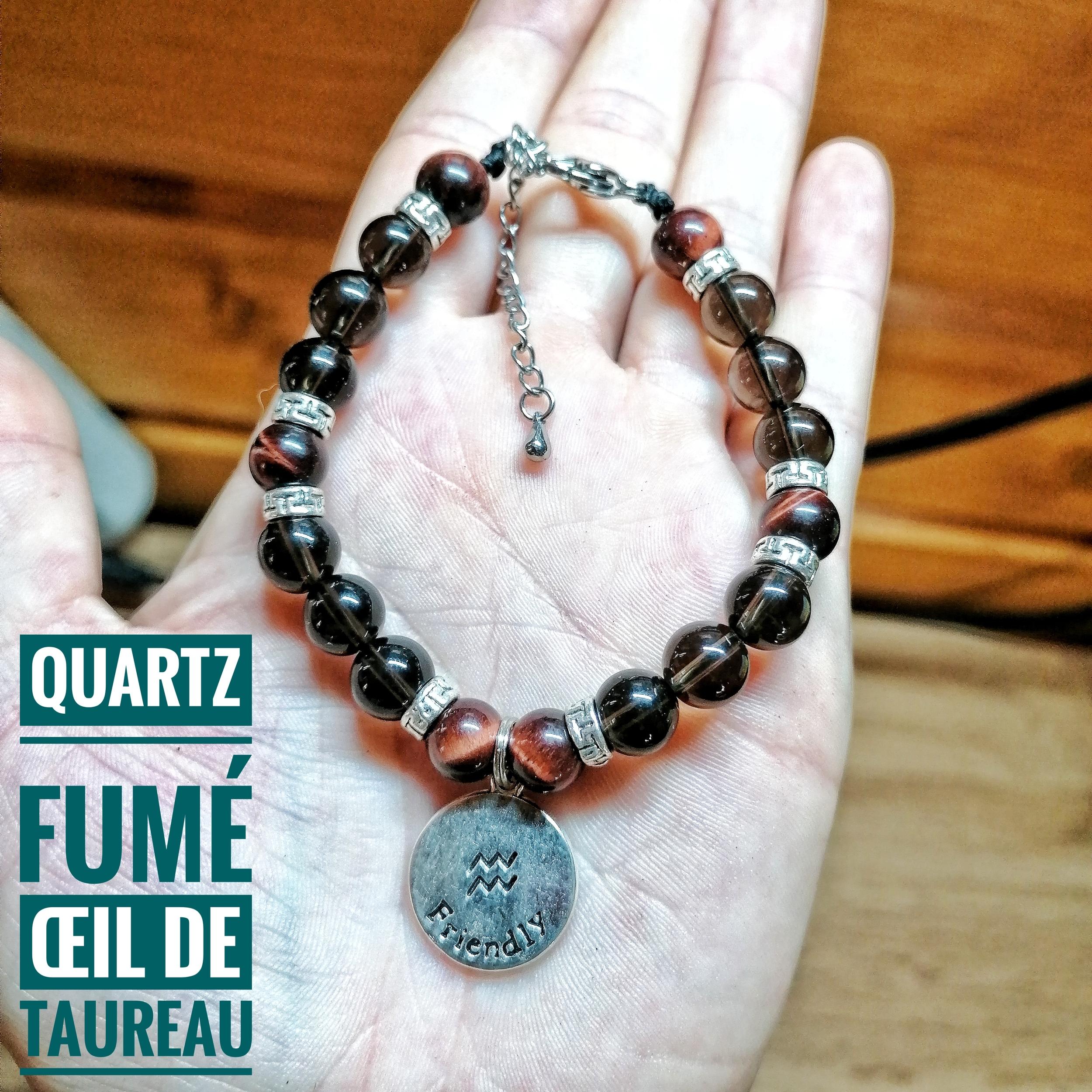 Bracelet spécial Verseau ♒ en Quartz fumé & Oeil de Taureau