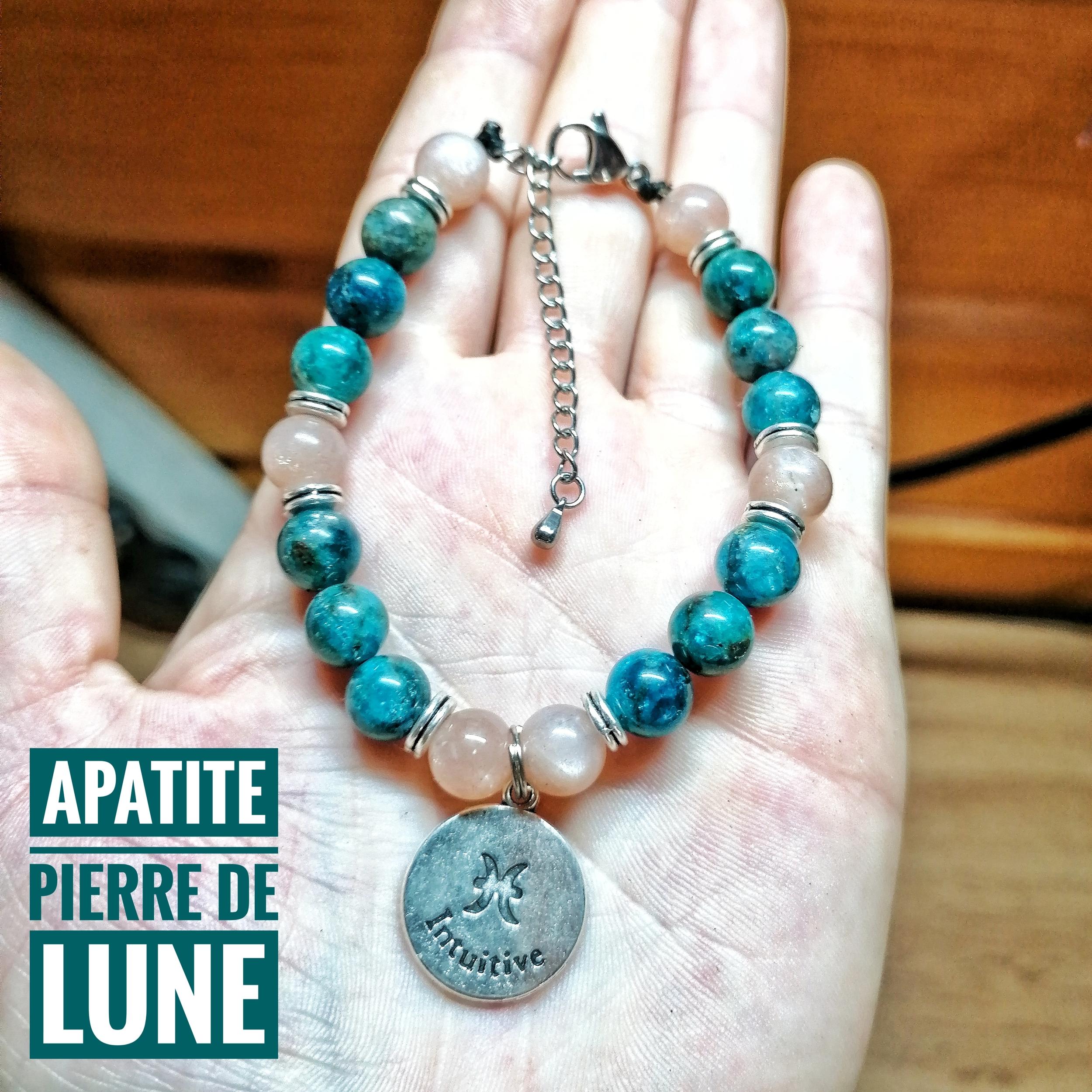 Bracelet spécial Poisson ♓ en Apatite & Pierre de Lune