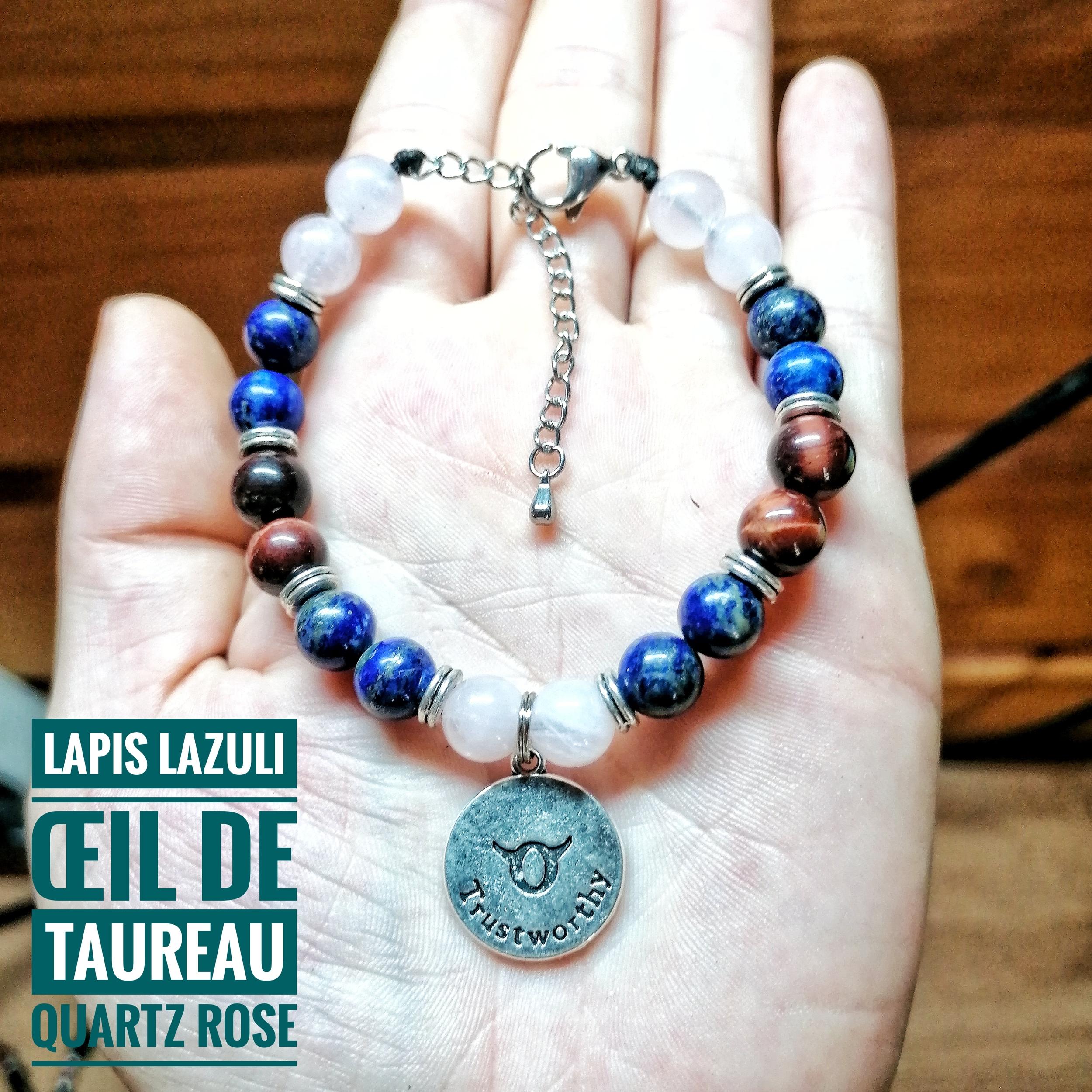 Bracelet spécial Taureau ♉ en Lapis Lazuli, Oeil de Taureau & Quartz rose