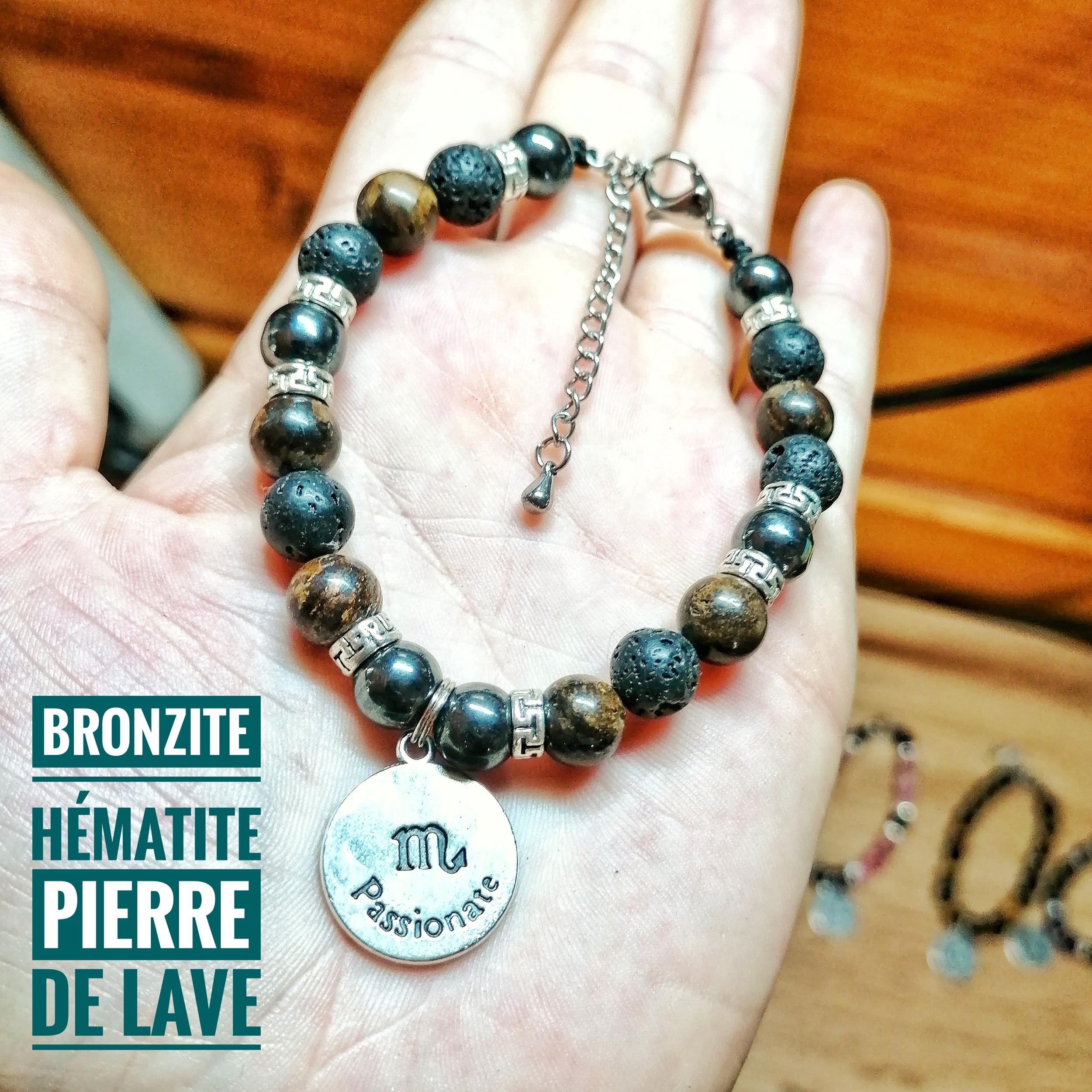 Bracelet spécial Scorpion ♏ en Bronzite, Pierre de lave & Hématite
