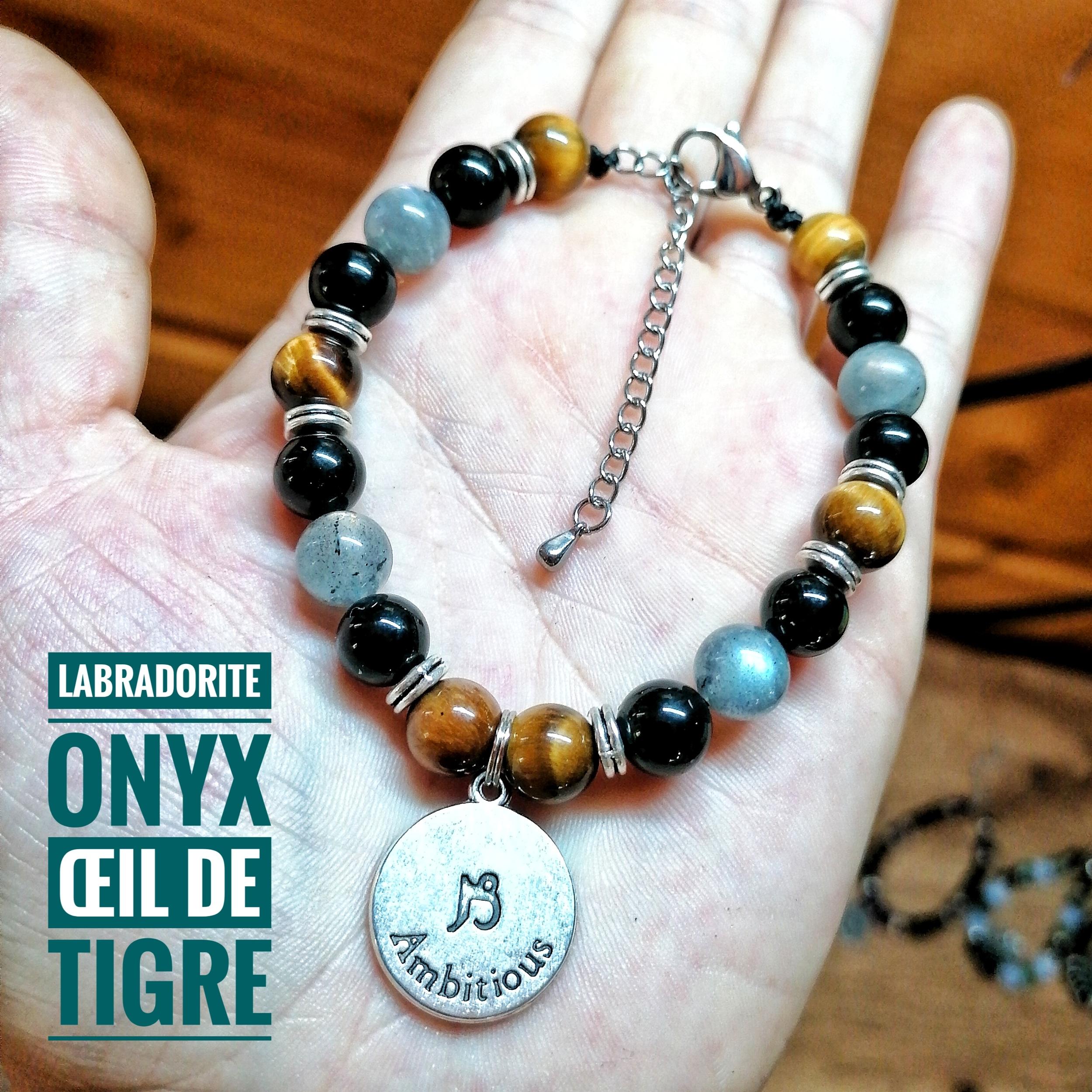 Bracelet spécial Capricorne ♑ en Labradorite, Onyx & Oeil de tigre