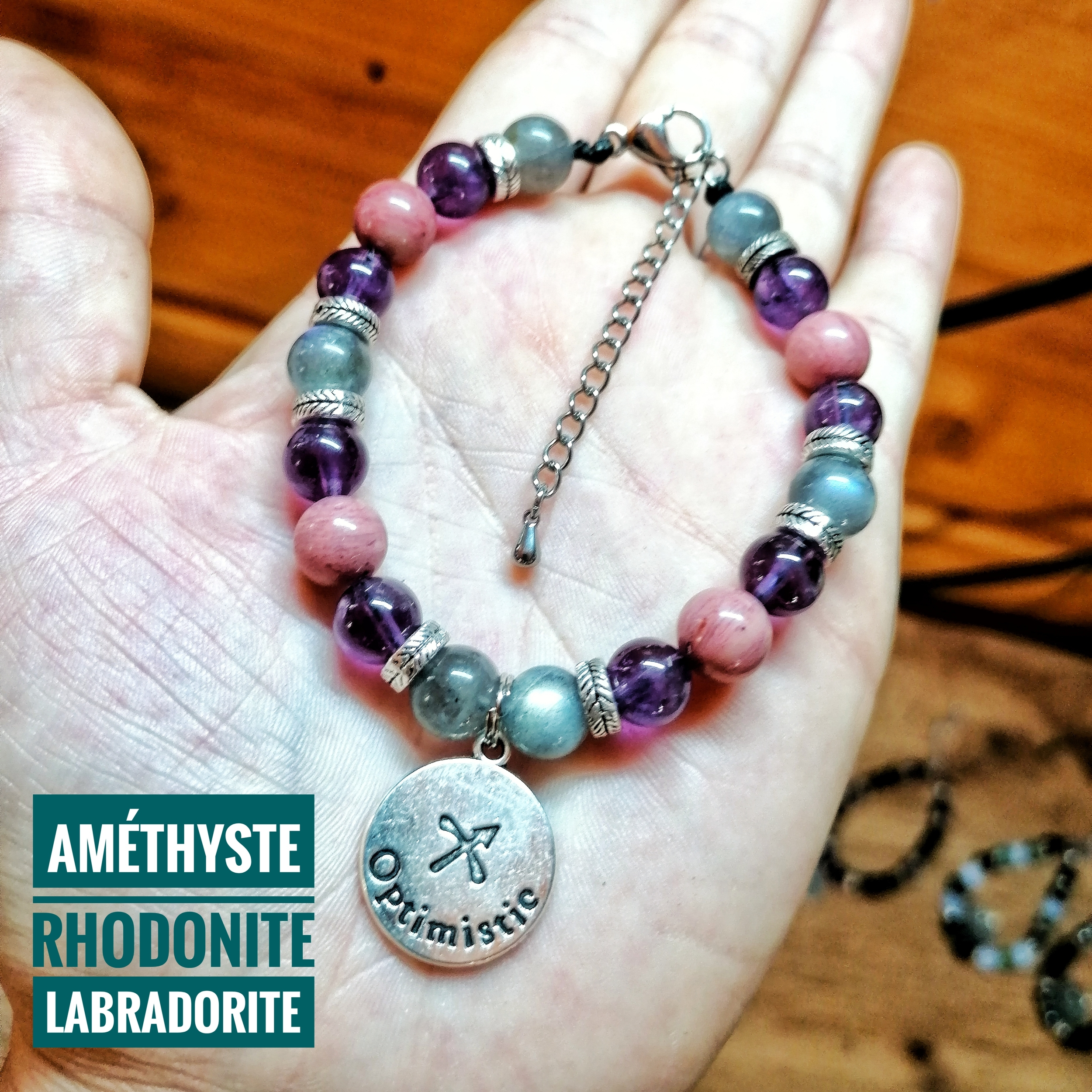 Bracelet spécial Sagittaire ♐ en Labradorite, Améthyste & Rhodonite