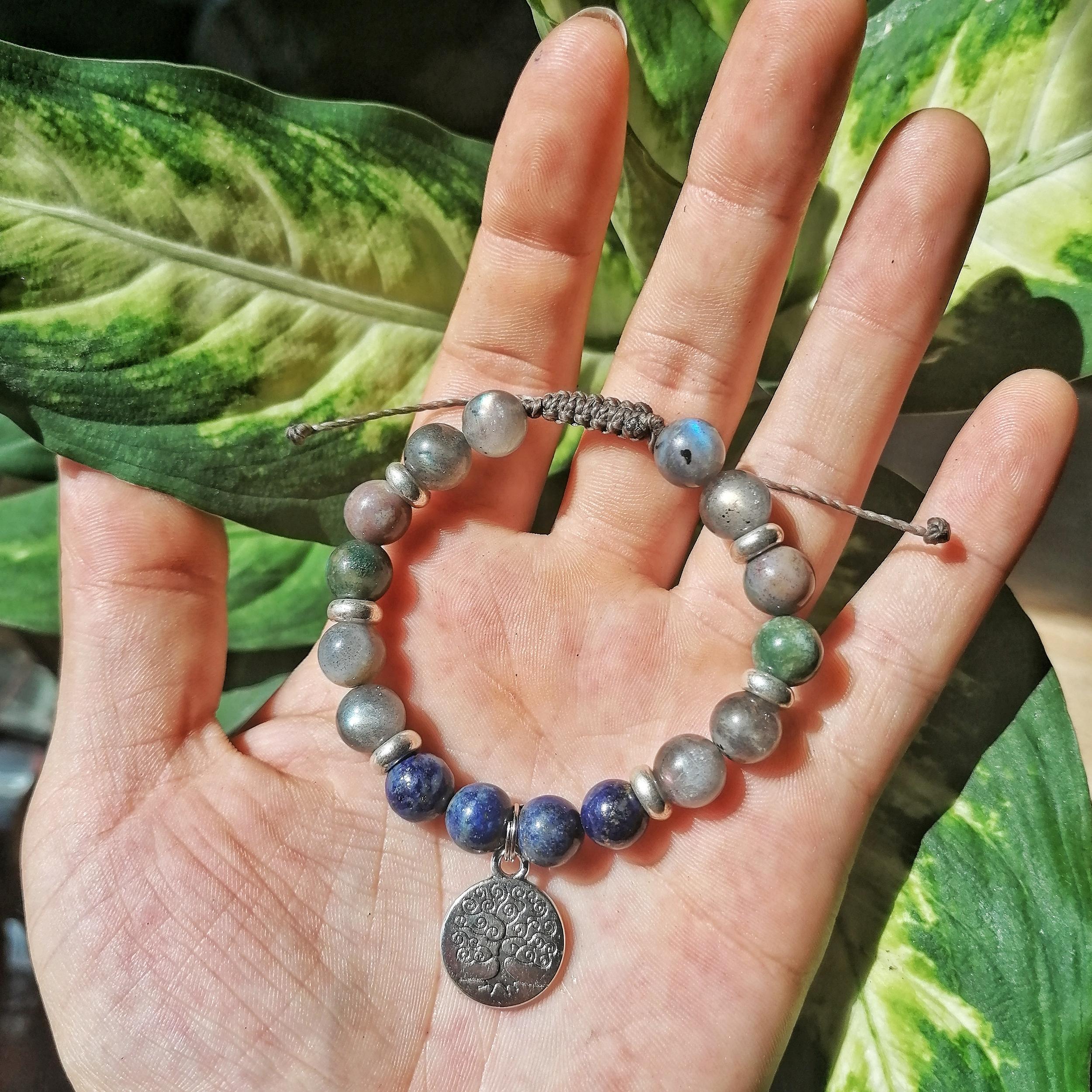 Bracelet Protection & Communication en Lapis lazuli, Labradorite et Agate indienne