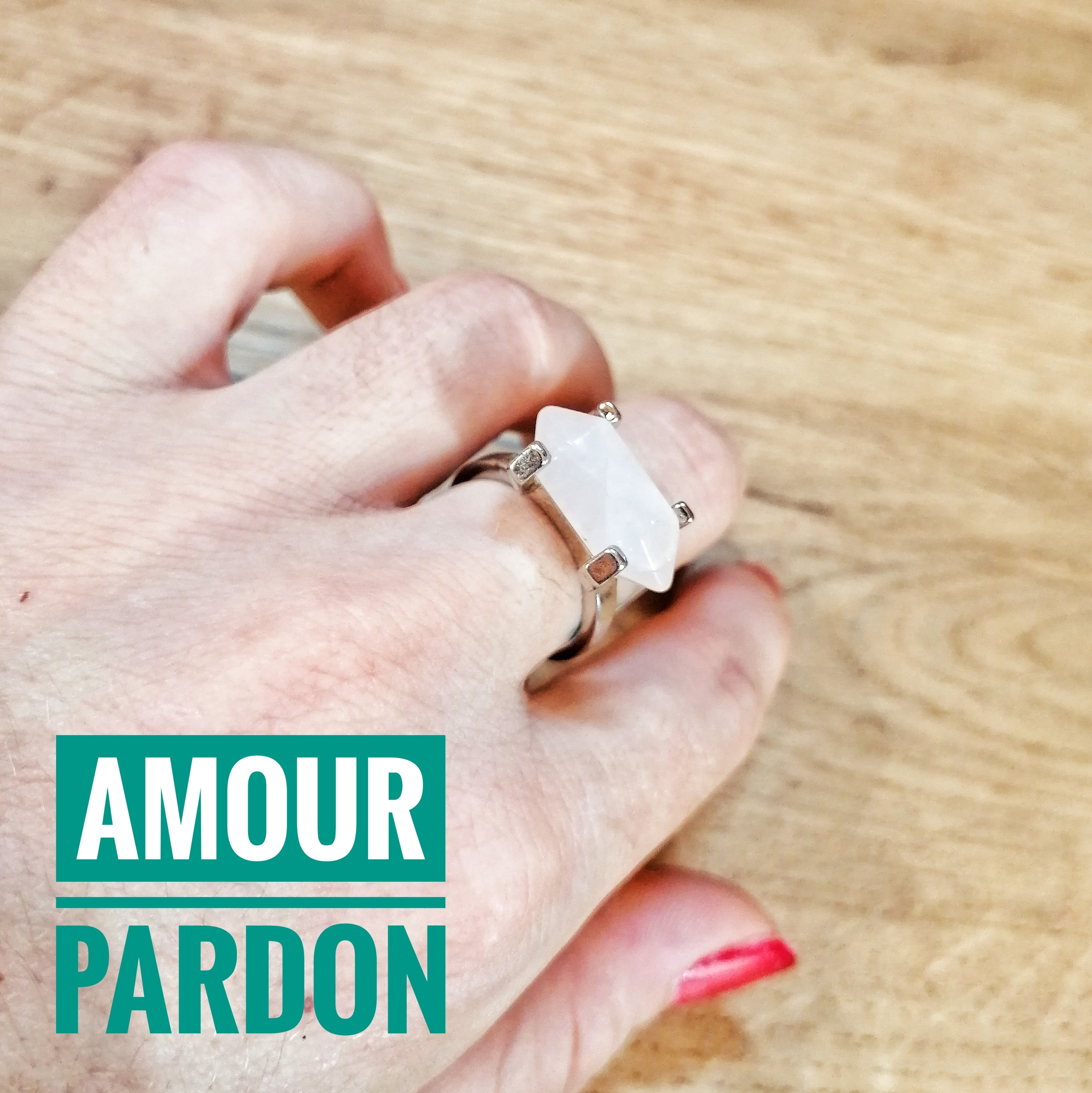 Bague Amour & Pardon en Quartz rose