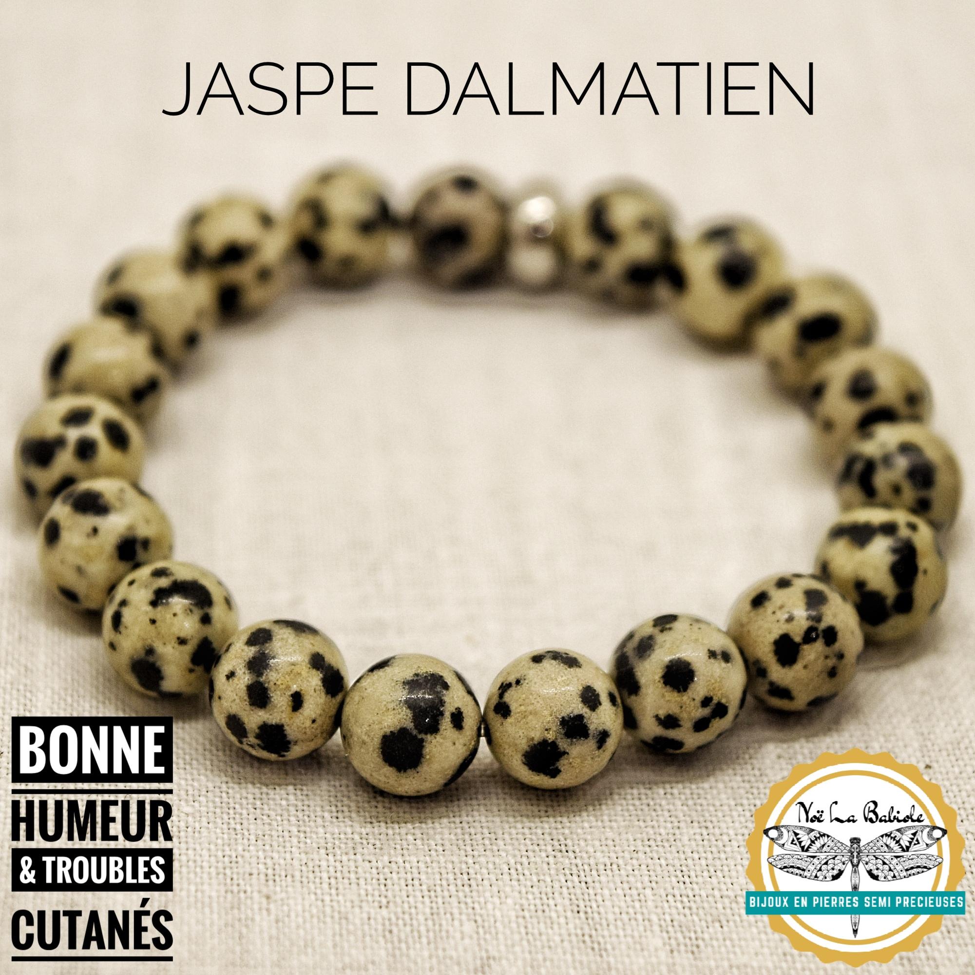 Bracelet Bonne humeur & Troubles cutanés en Jaspe Dalmatien