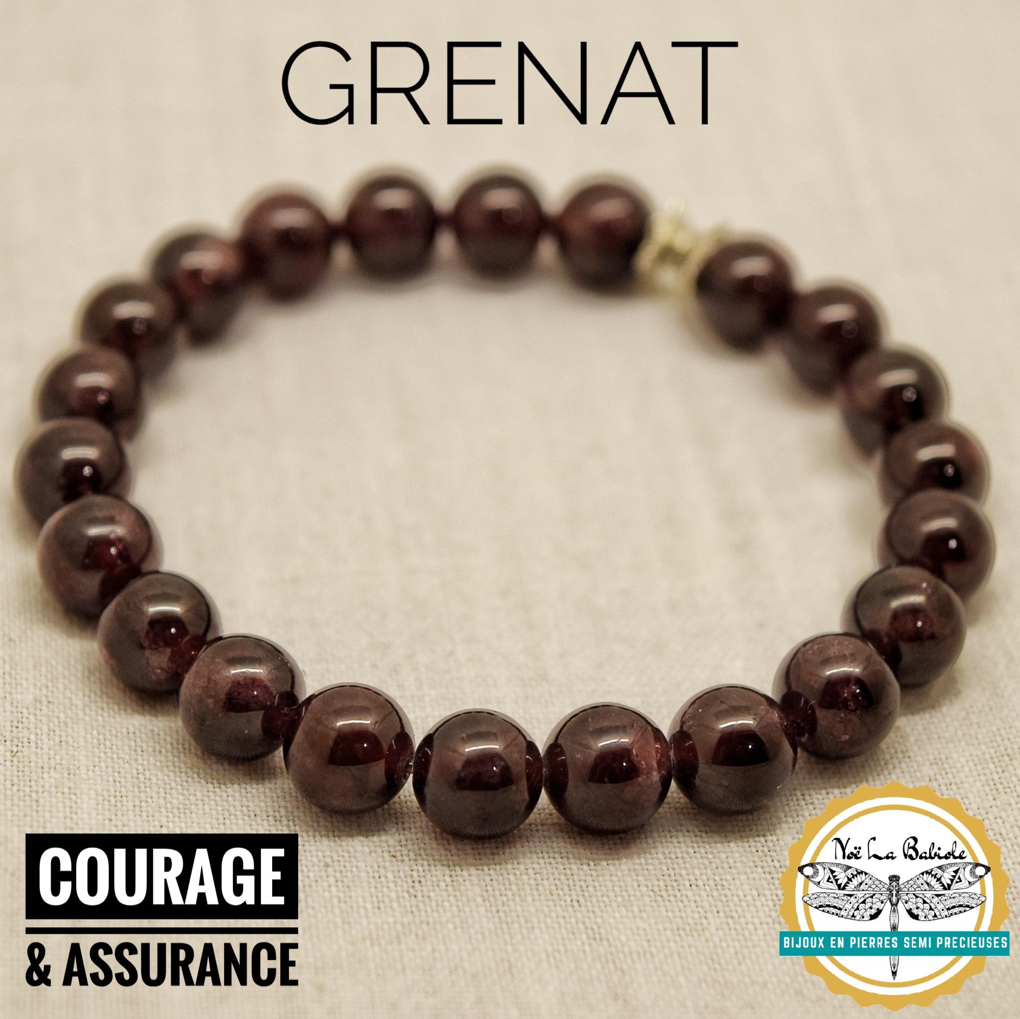 Bracelet Assurance & Courage en Grenat