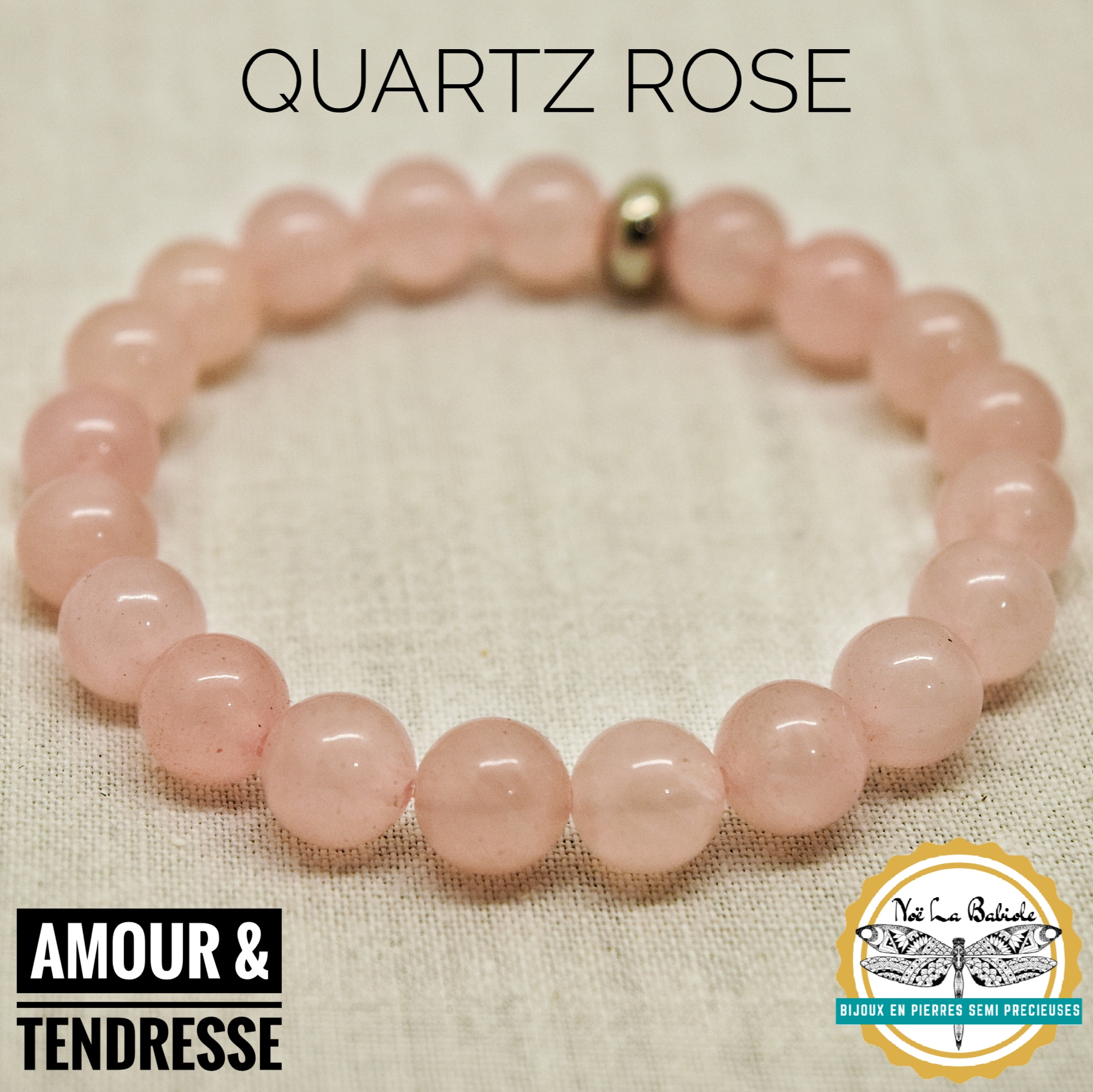 Bracelet Amour & Tendresse en Quartz rose