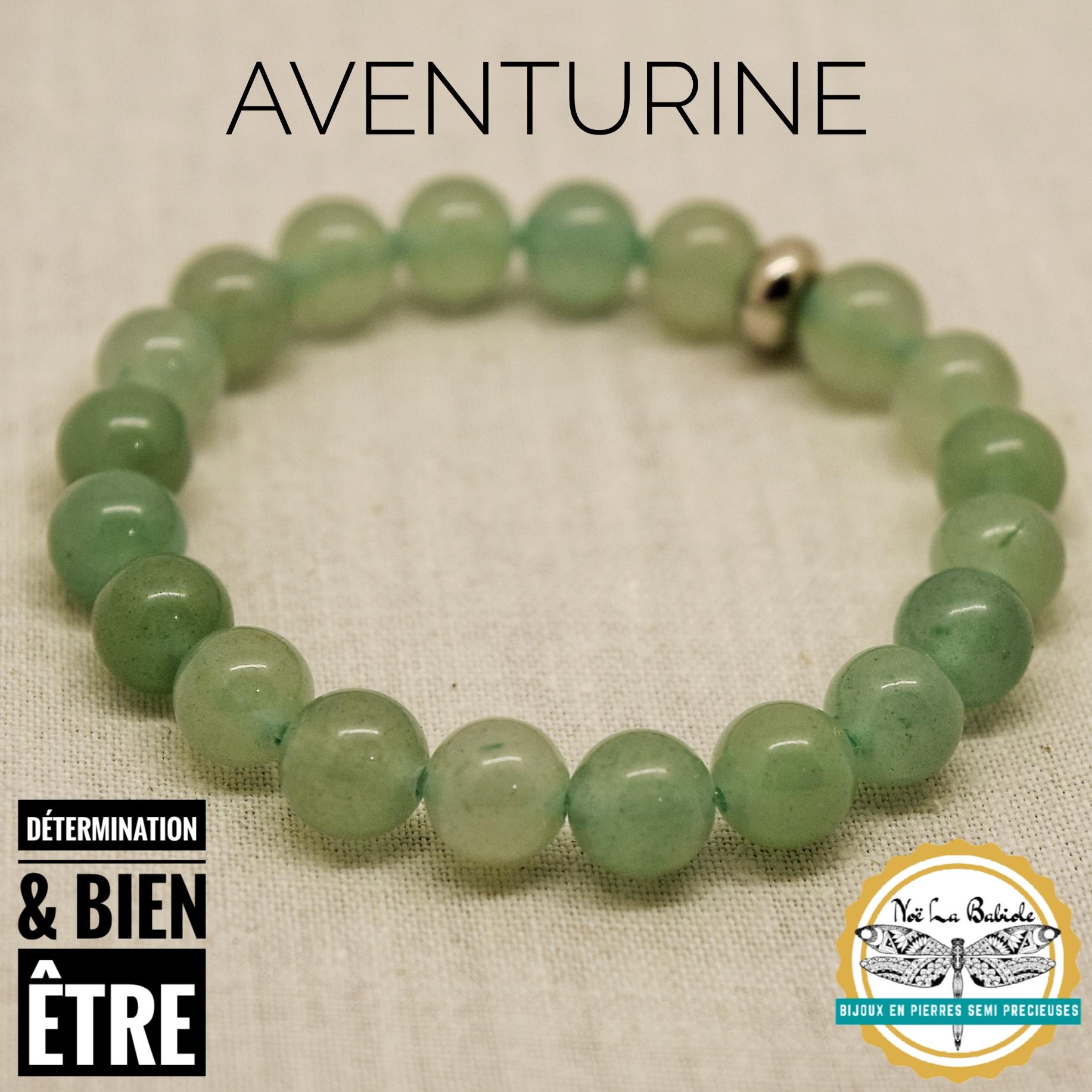 Bracelet Bien être & Determination en Aventurine verte