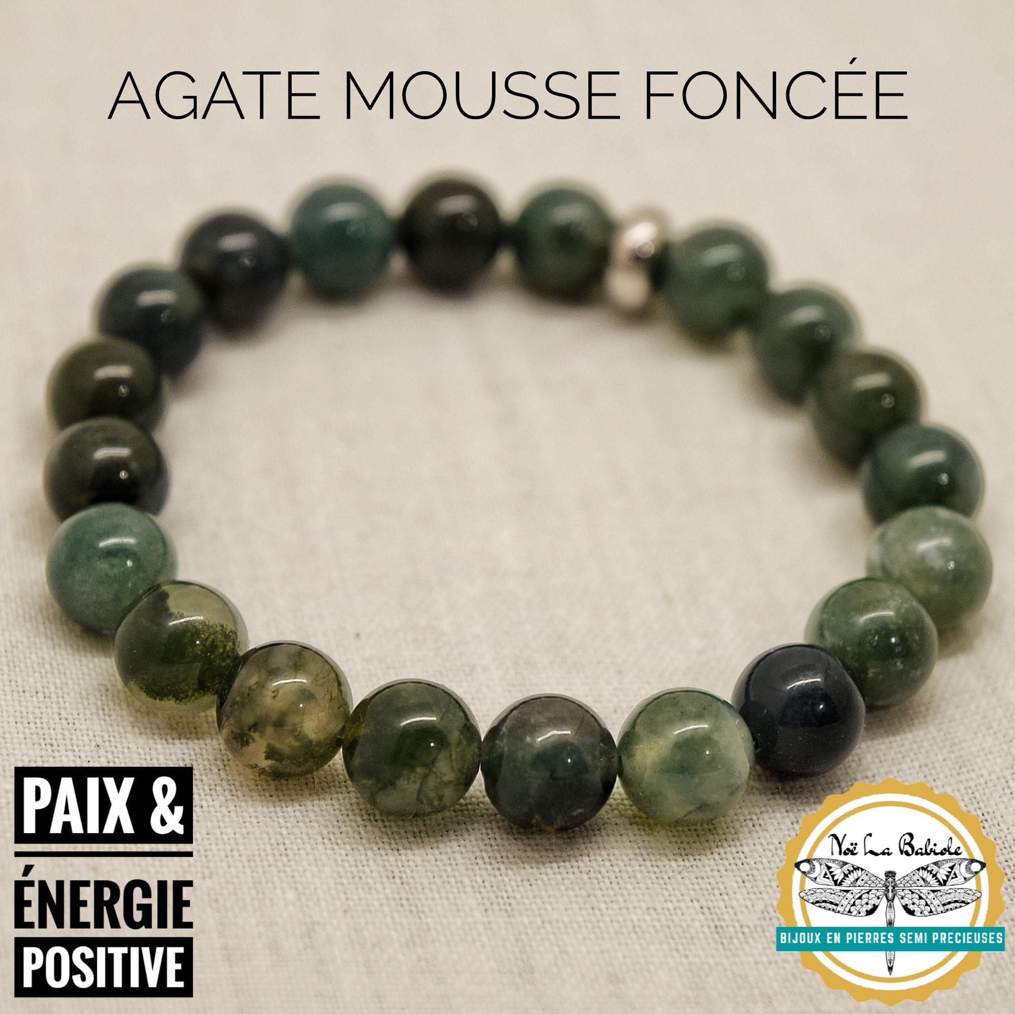 Bracelet Energie positive & Apaisement en Agate mousse foncée