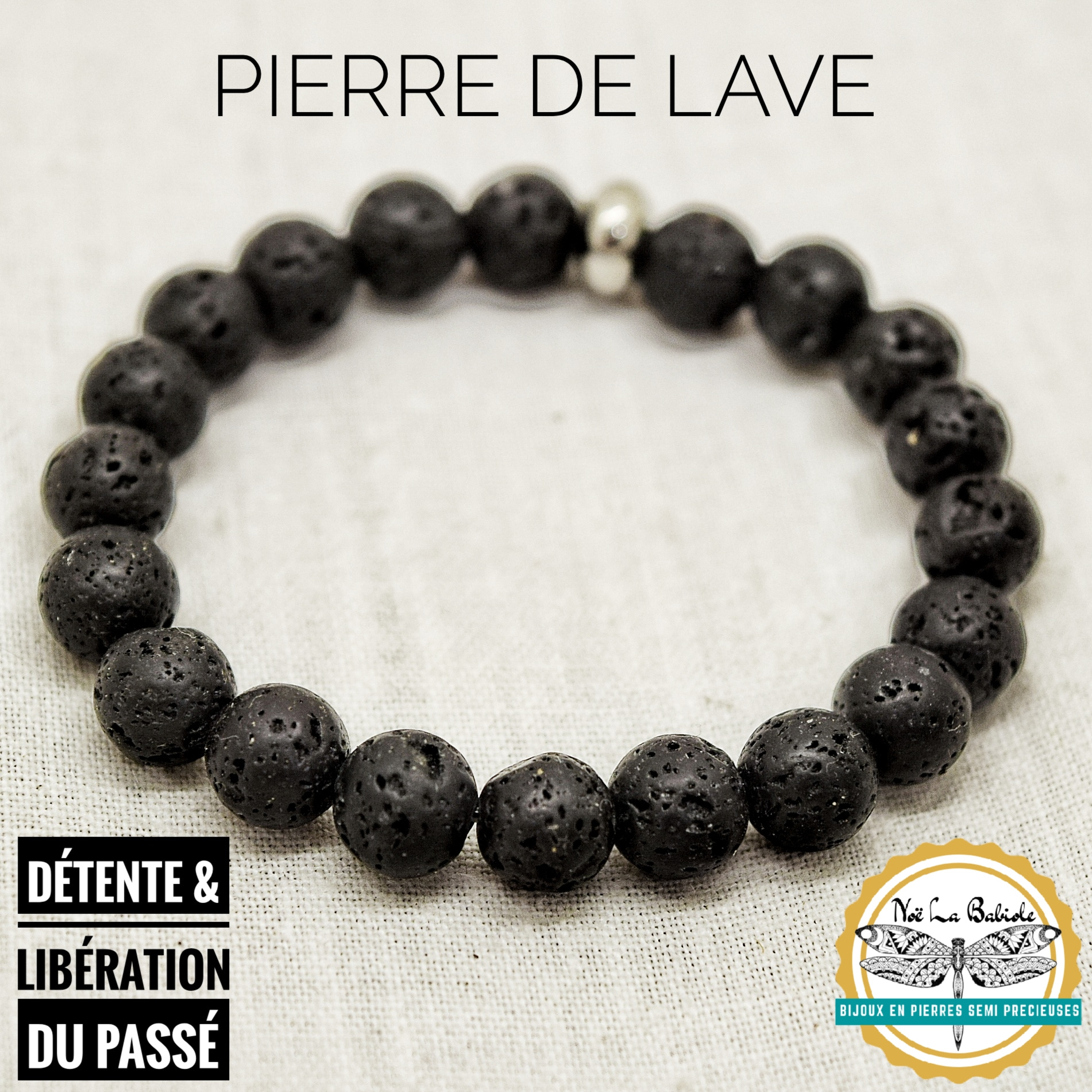 Bracelet Absorbeur de colère & Détente en Pierre de lave