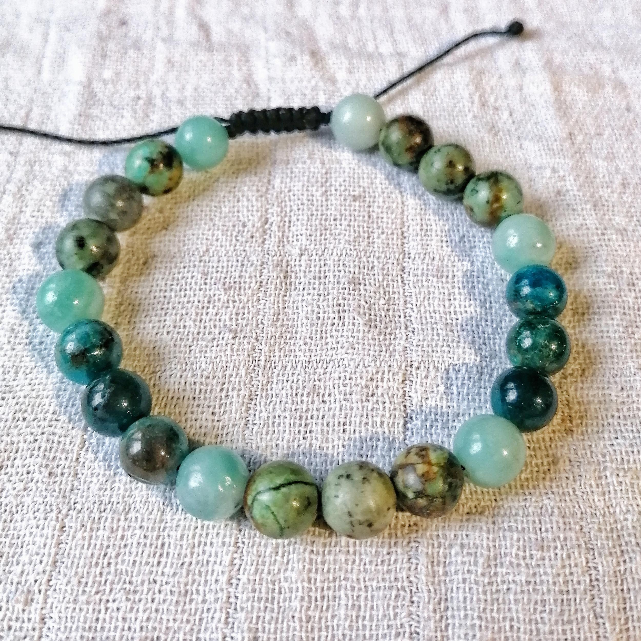 Bracelet Confiance en ses capacités en Amazonite, Apatite & Turquoise africaine