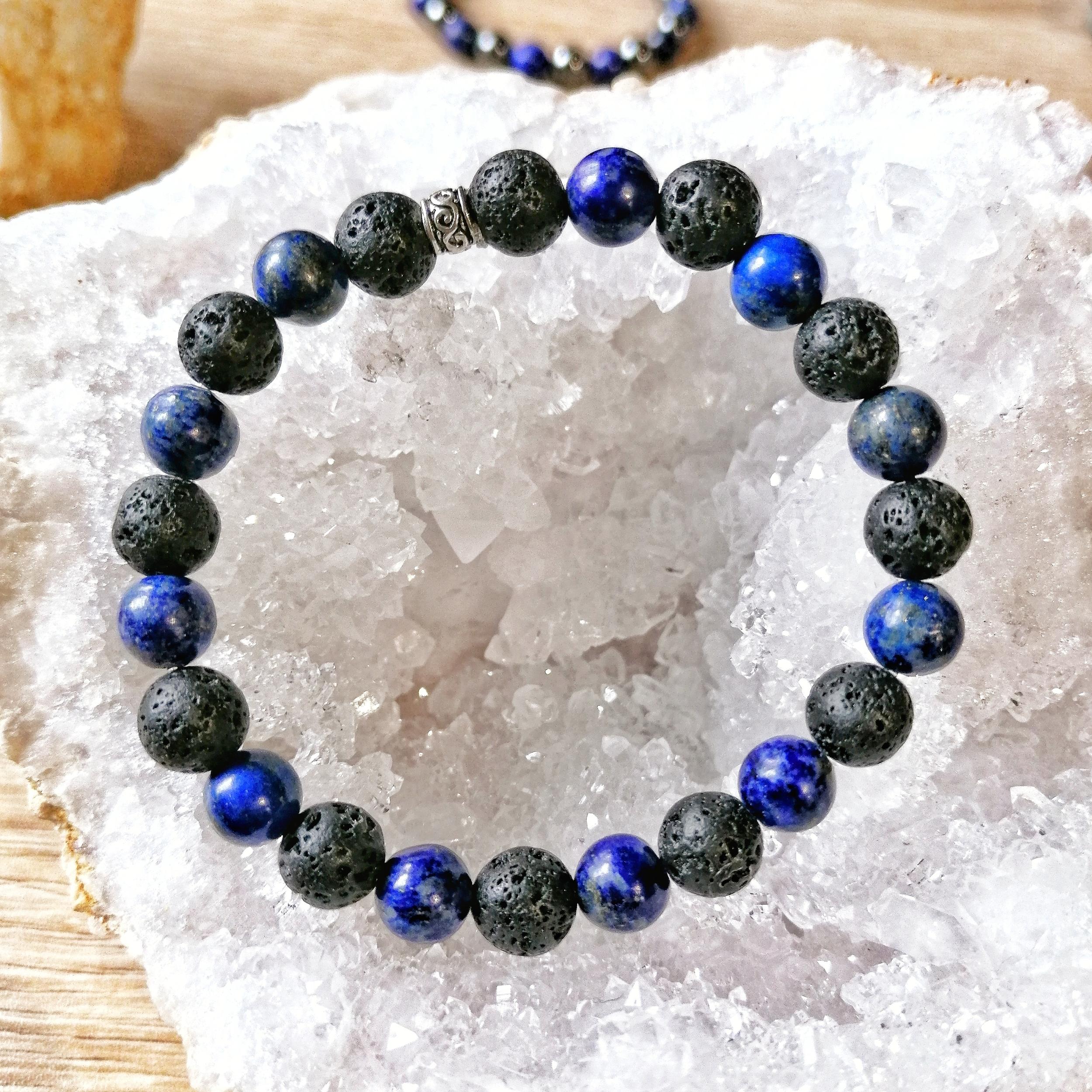 Bracelet Bonheur & Communication en Lapis lazuli & Pierre de lave