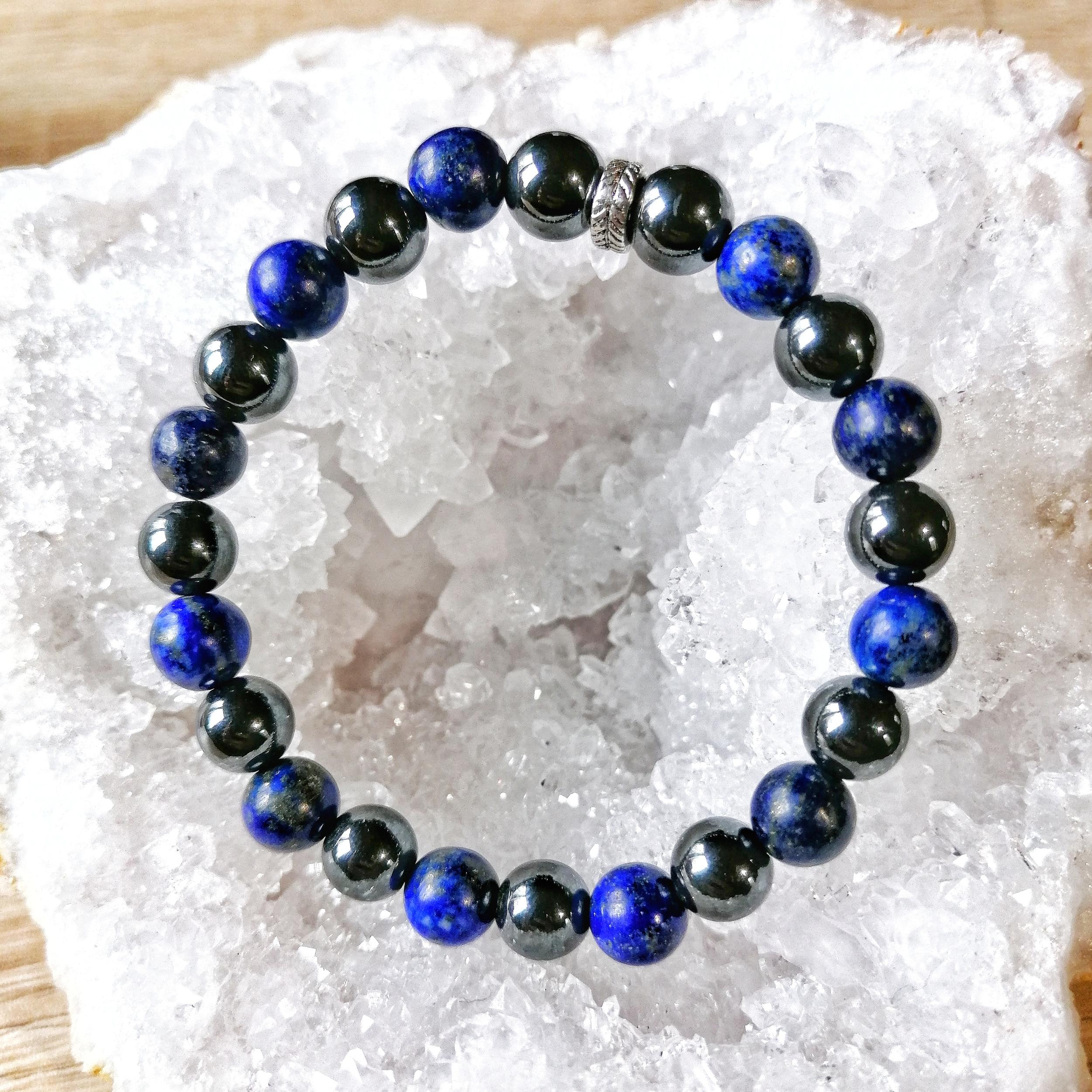 Bracelet  Vaincre la timidité en Lapis lazuli & Hématite