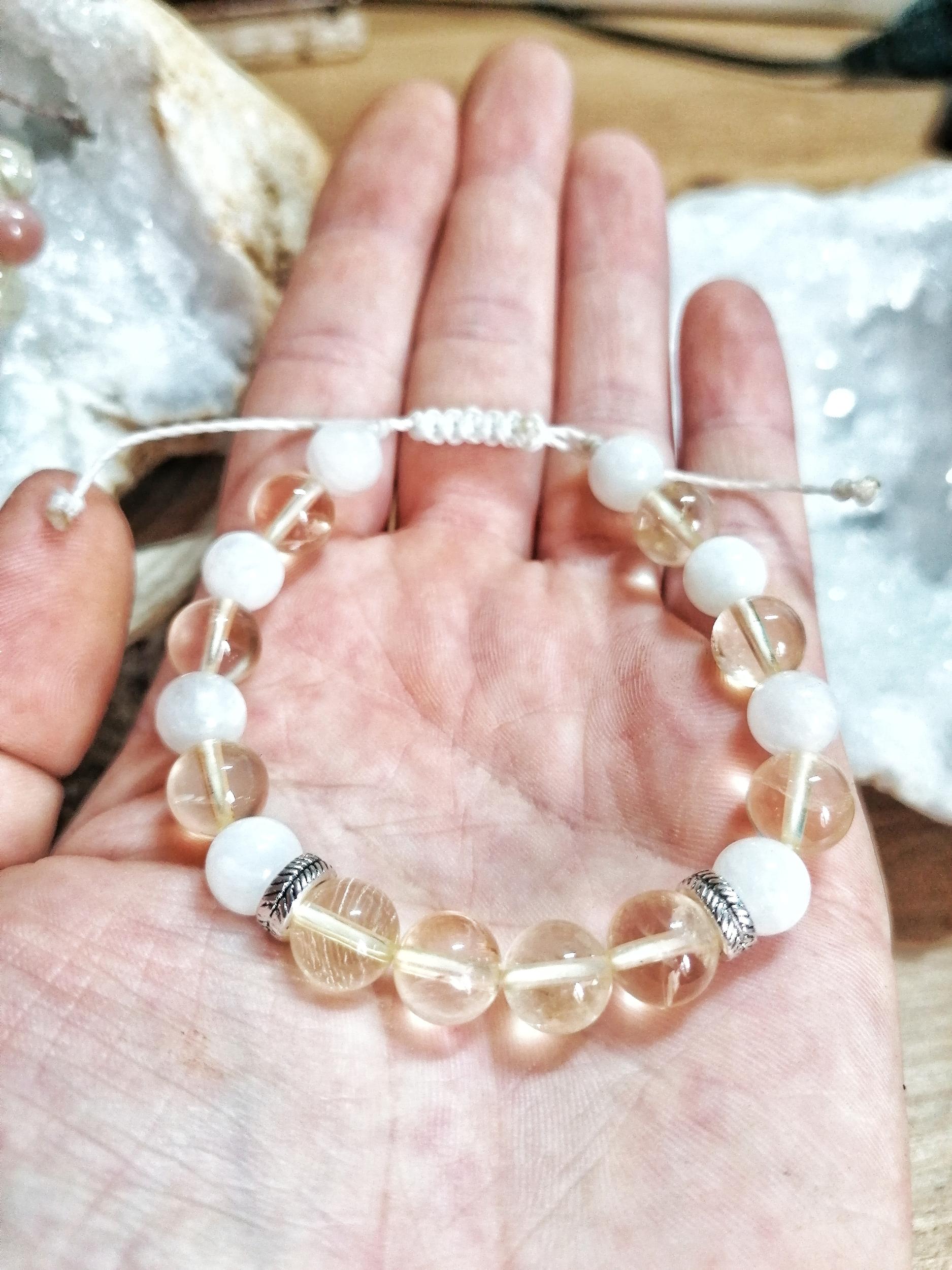 Bracelet Remontées acides & Grossesse en Citrine & Pierre de lune blanche