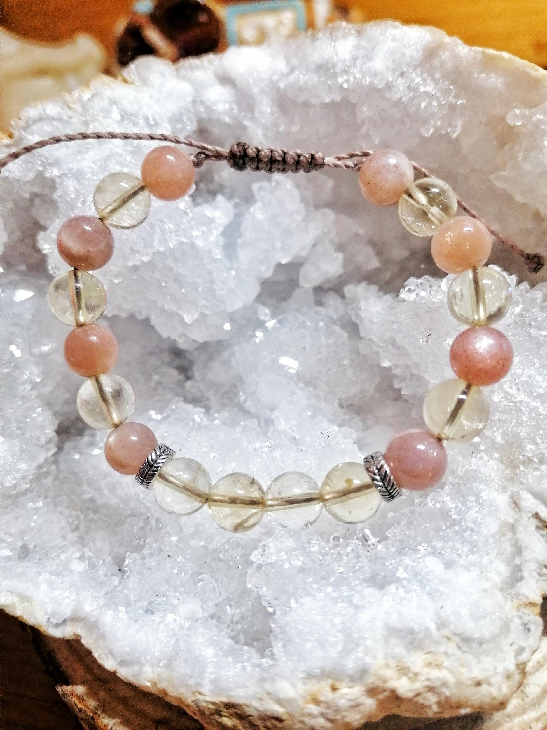 Bracelet Remontées acides & Grossesse en Citrine & Pierre de lune pêche