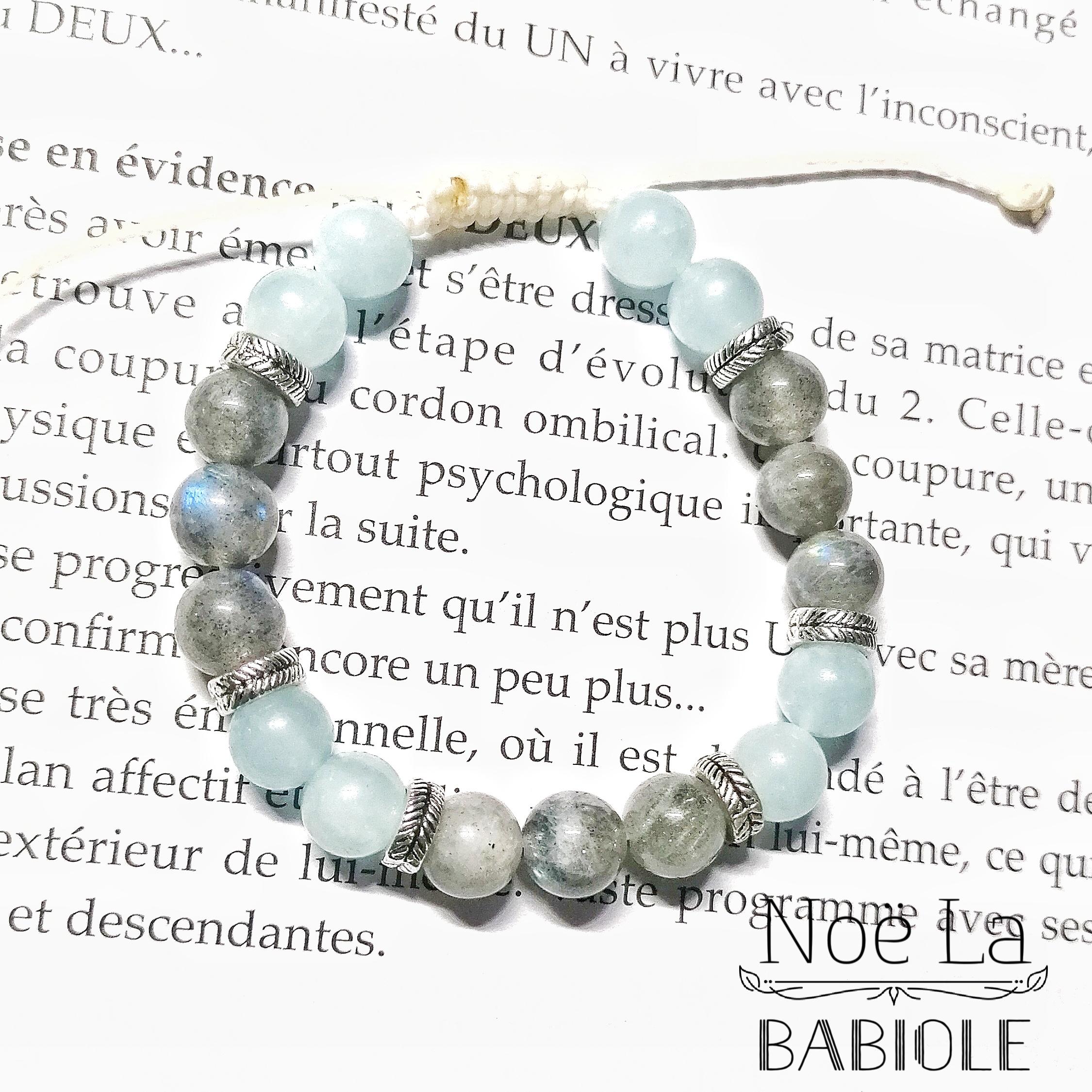 Bracelet Protection & Lâcher prise en Labradorite et Aigue marine
