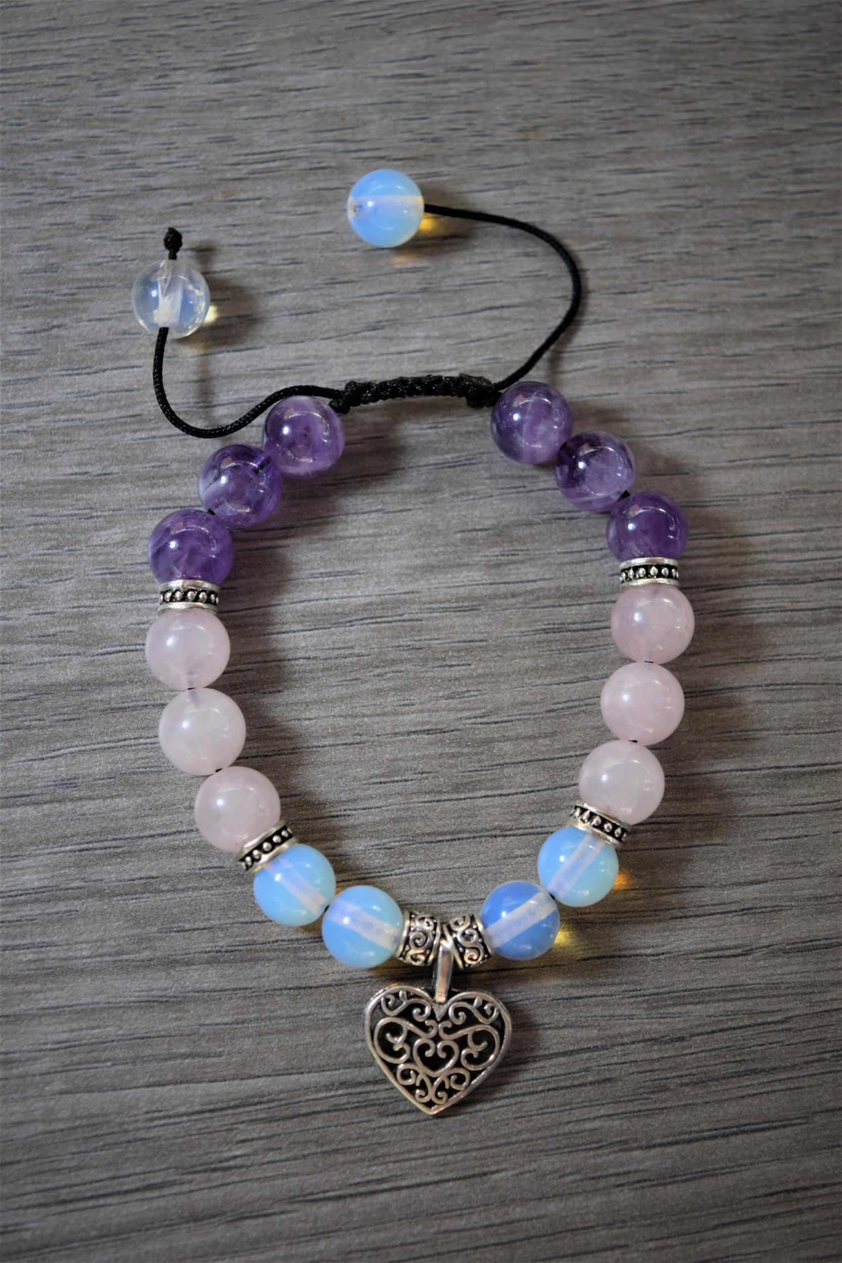 Bracelet Paix & Amour en Améthyste, Quartz rose et Opalite