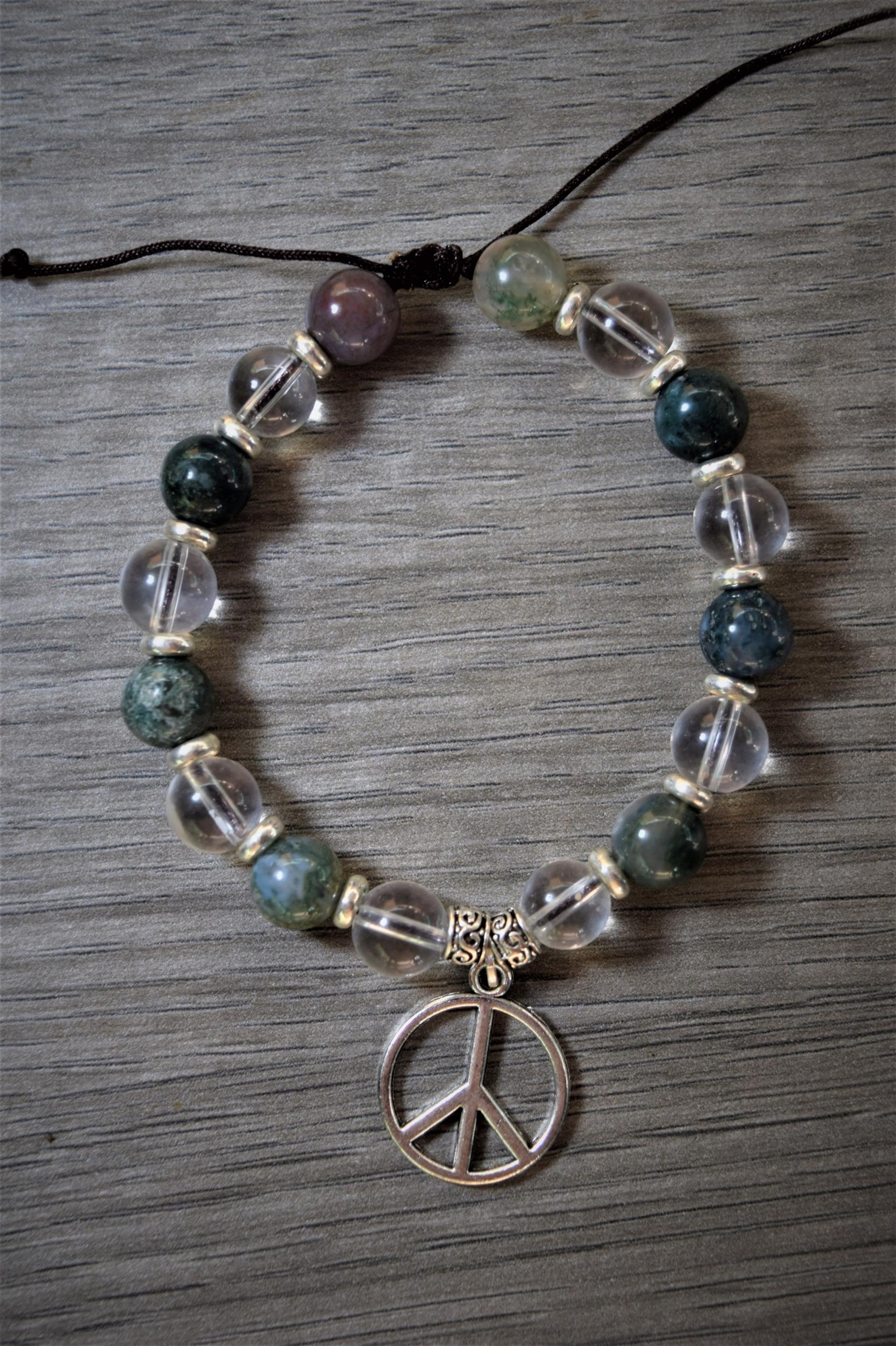 Bracelet Guérison & Protection Agate indienne et Cristal de roche
