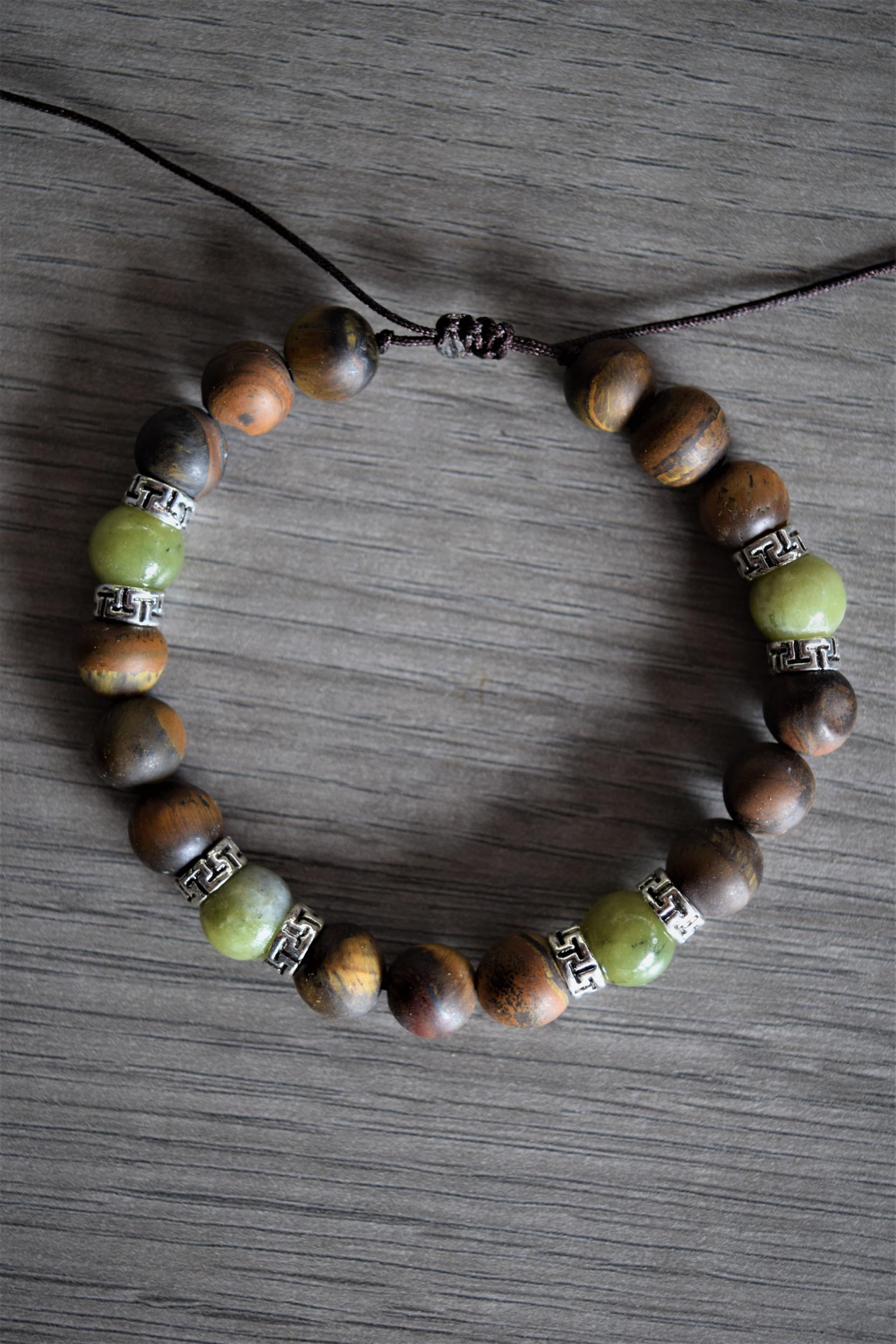 Bracelet Guérison & protection en Oeil de tigre et Jade nephrite