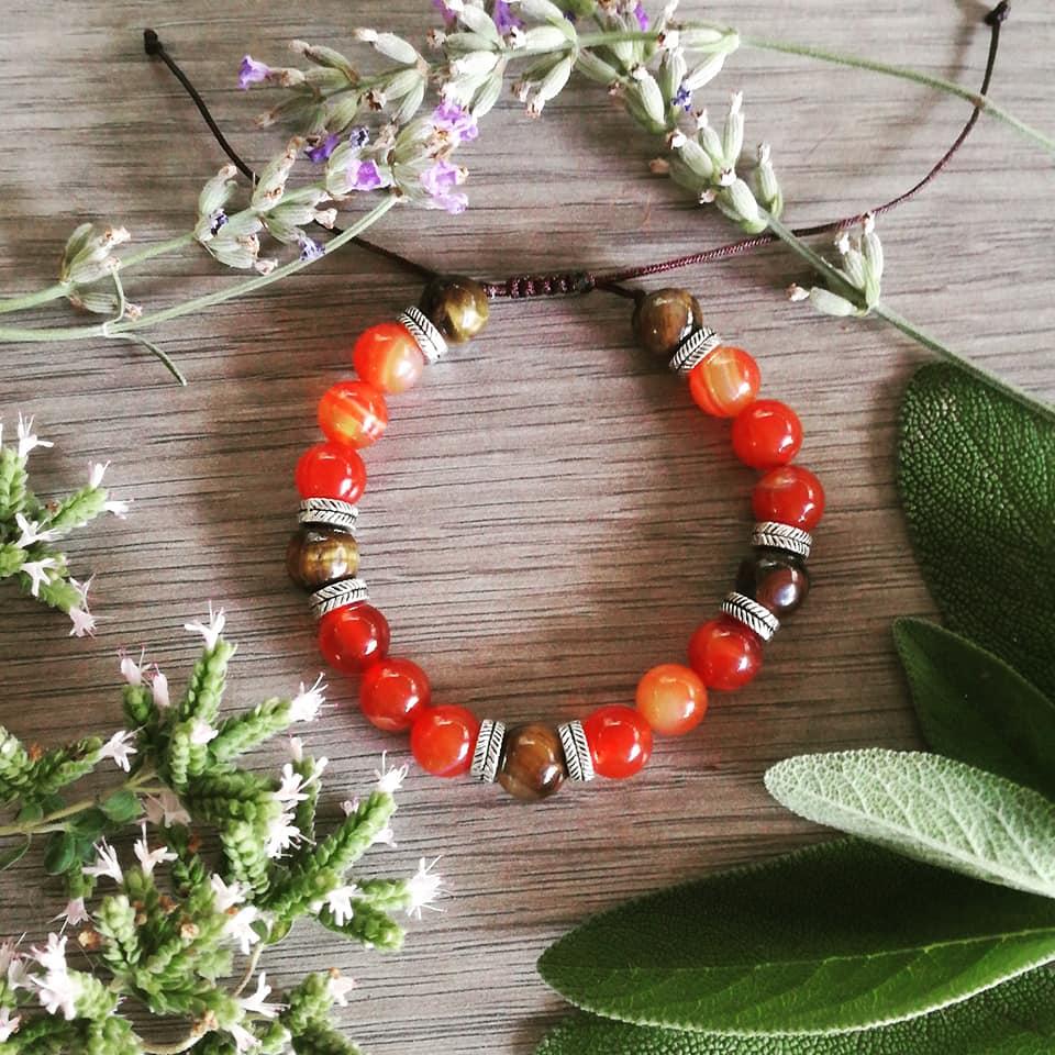 Bracelet Créativité et Protection en Cornaline et Oeil de tigre