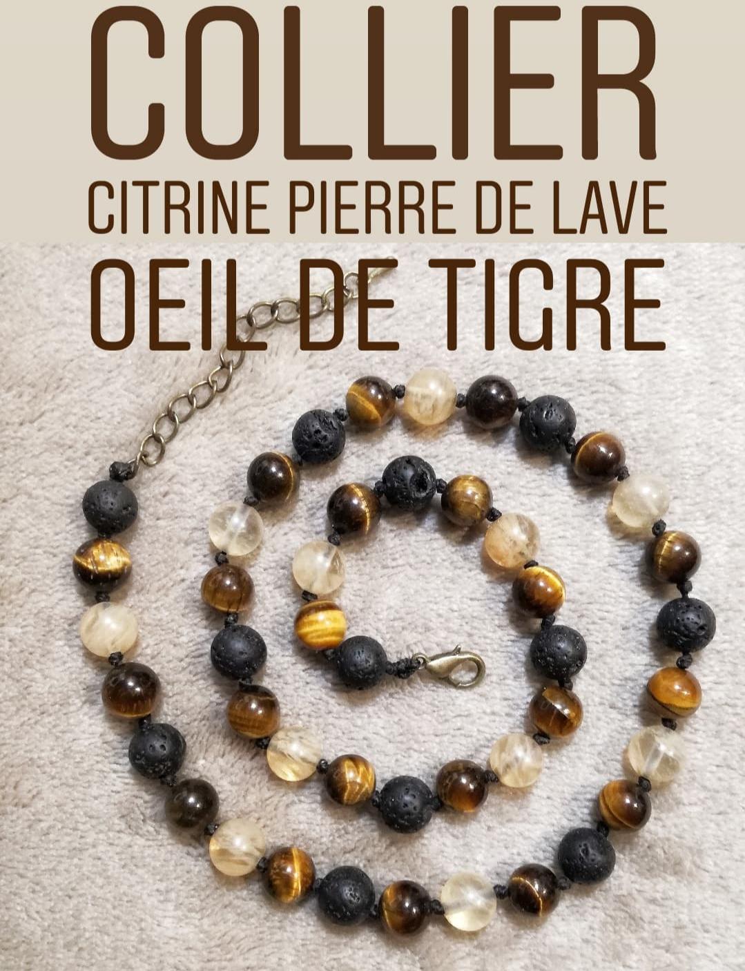 Collier Joie & Protection en Oeil de Tigre - Citrine - Pierre de Lave