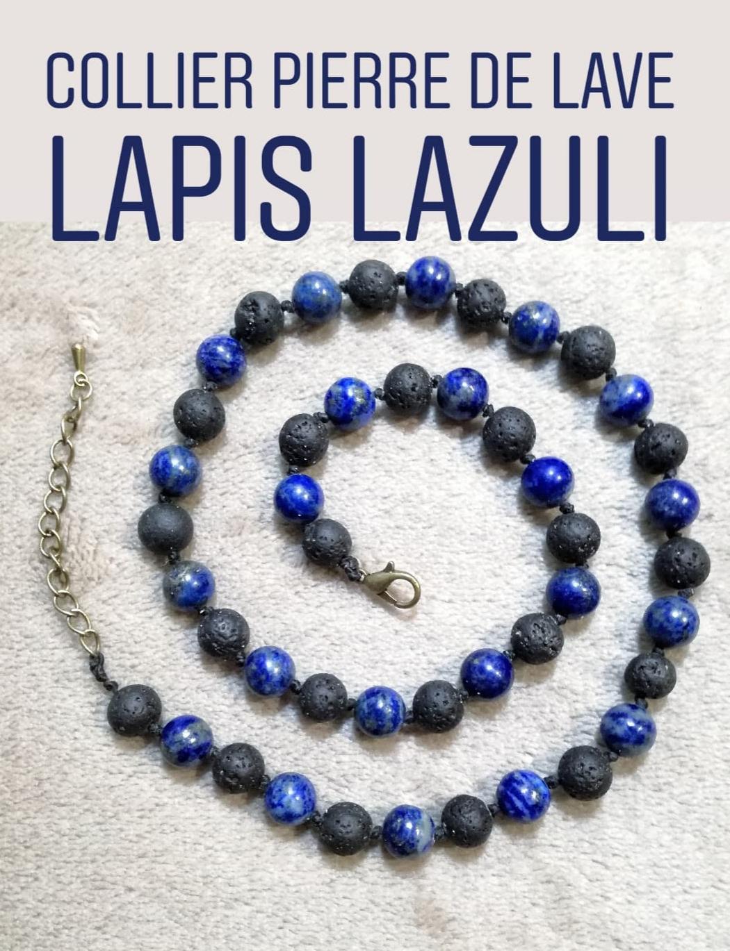Collier Organisation & Protection en Lapis Lazuli et Pierre de lave
