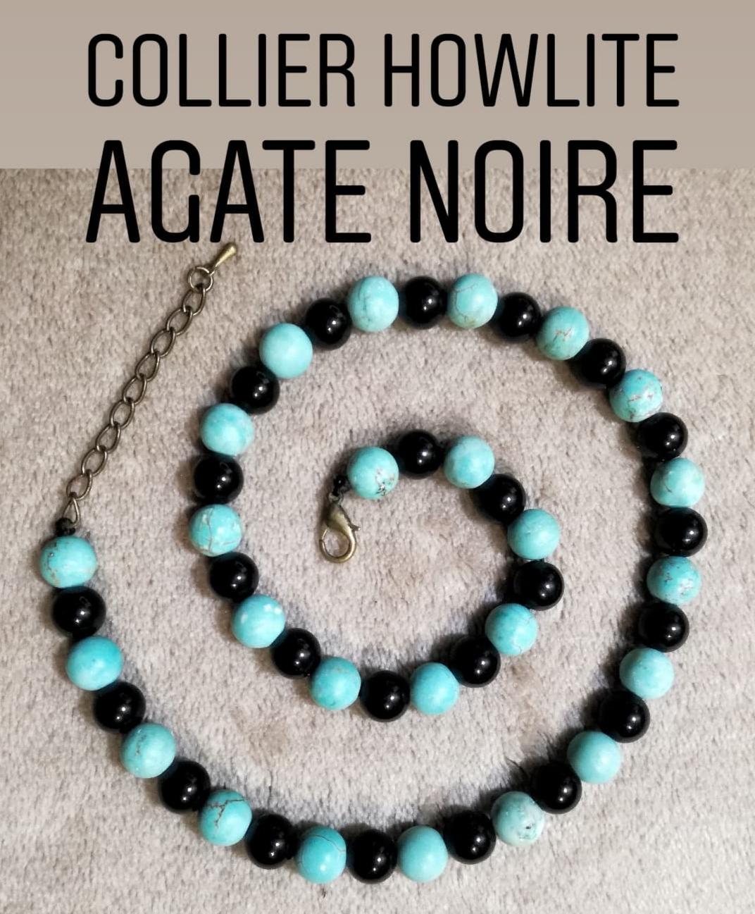 Collier Calme & Confiance en Howlite & Agate Noire
