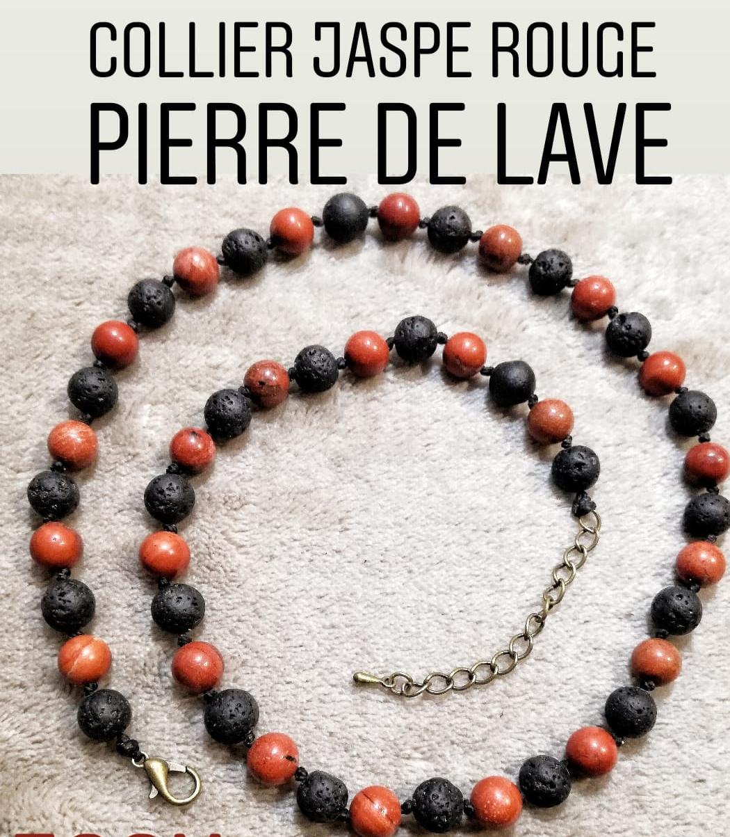 Collier Passion & Courage en Jaspe rouge et Pierre de Lave