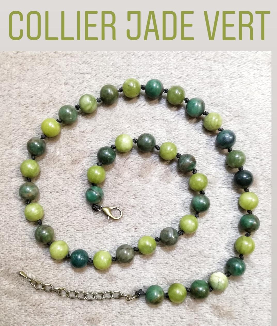 Collier Santé & Harmonie en Jade vert
