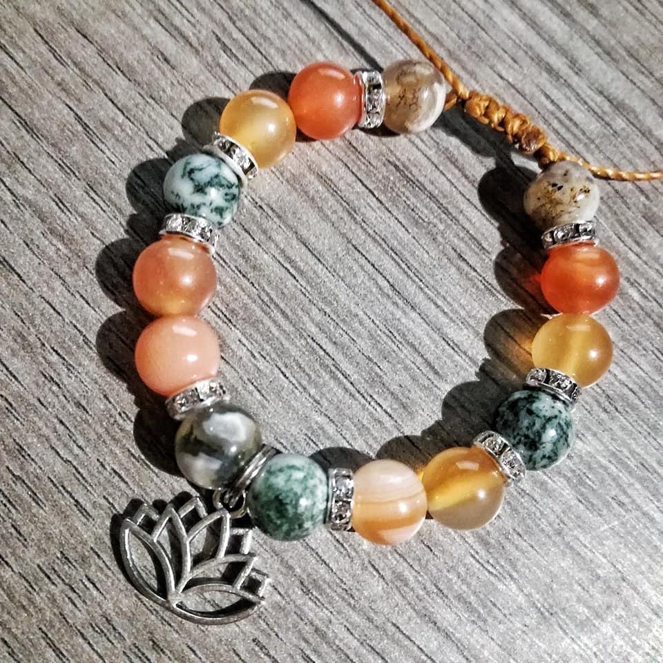 Bracelet Paix & Créativité en Cornaline et Agate arbre